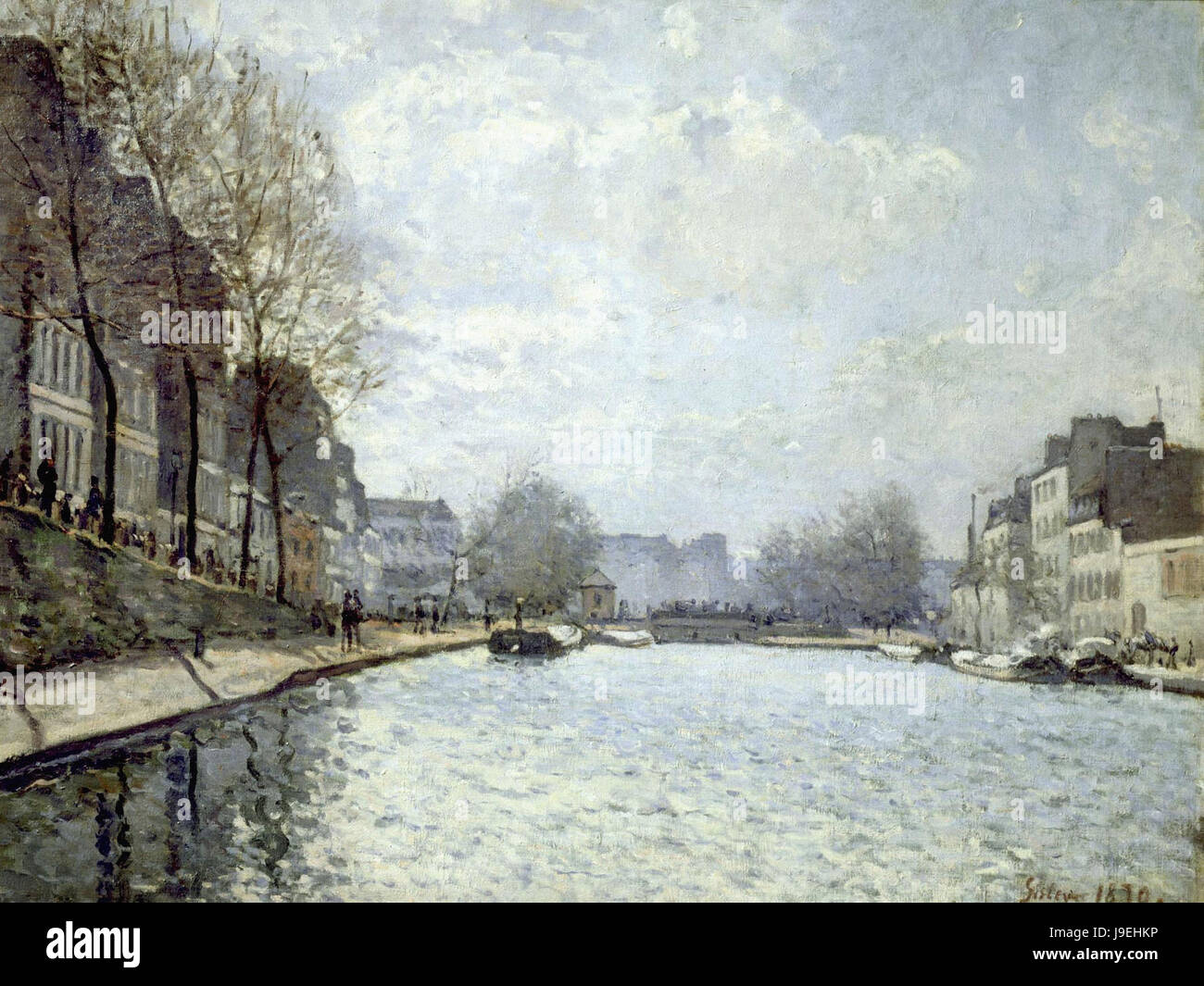 Alfred Sisley   View of the Saint Martin canal 1870  Musée d'Orsay Paris - Stock Image