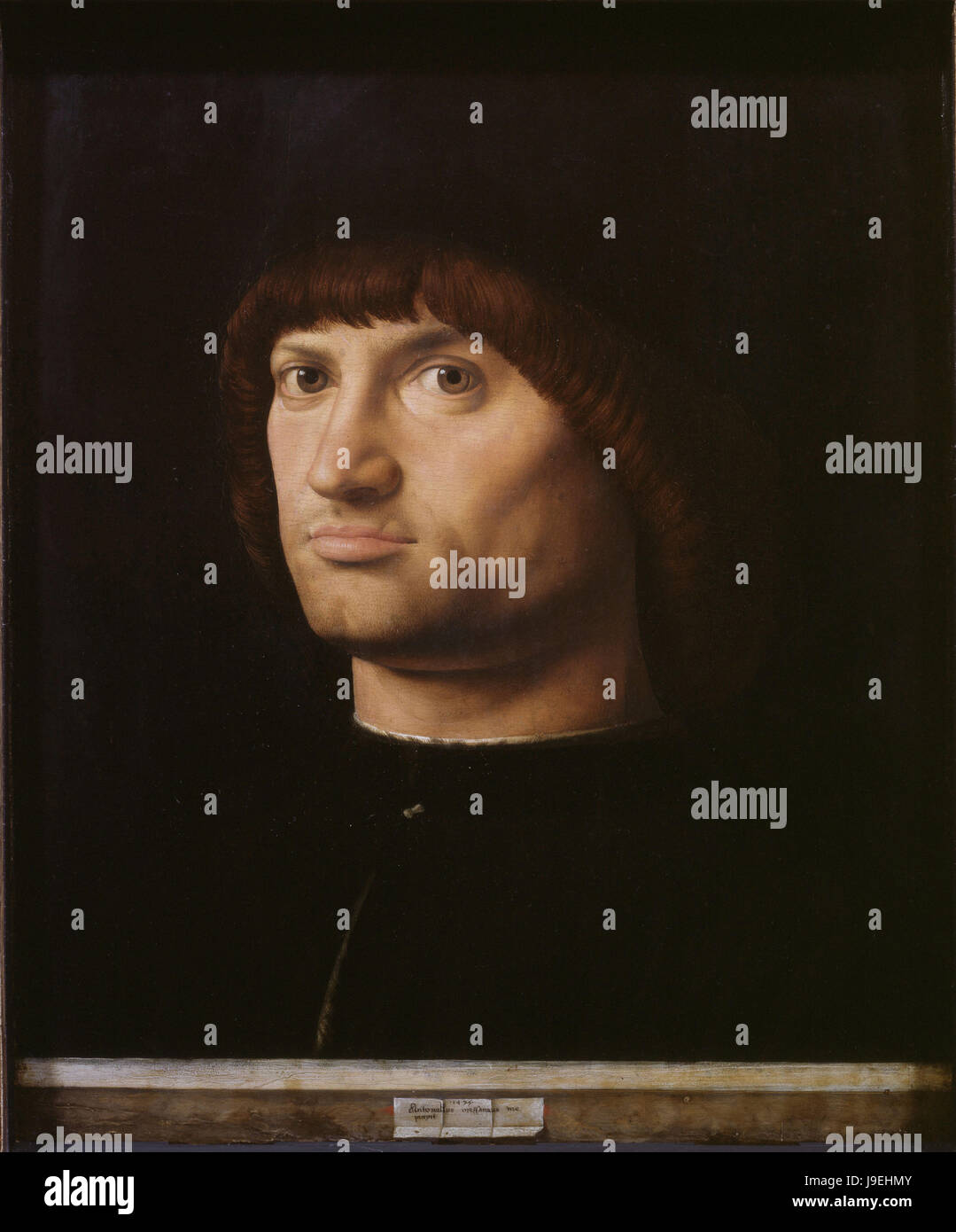 Antonello Da Messina  -  The Condottiero 1475     Louvre Museum Paris Stock Photo