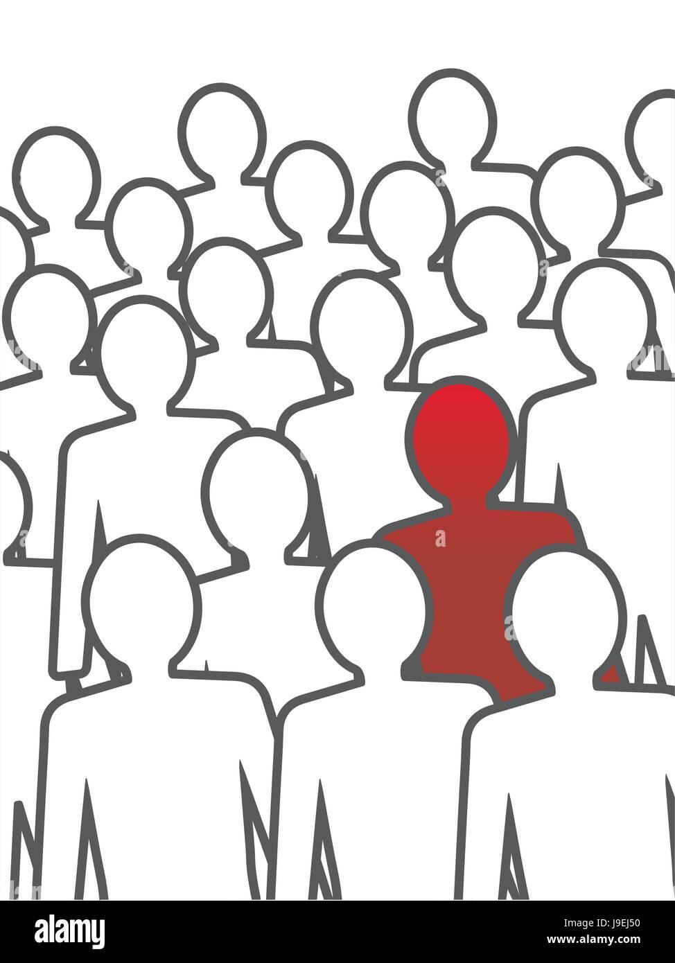 Unusual person in the crowd. Vector concept illustration. - Stock Vector