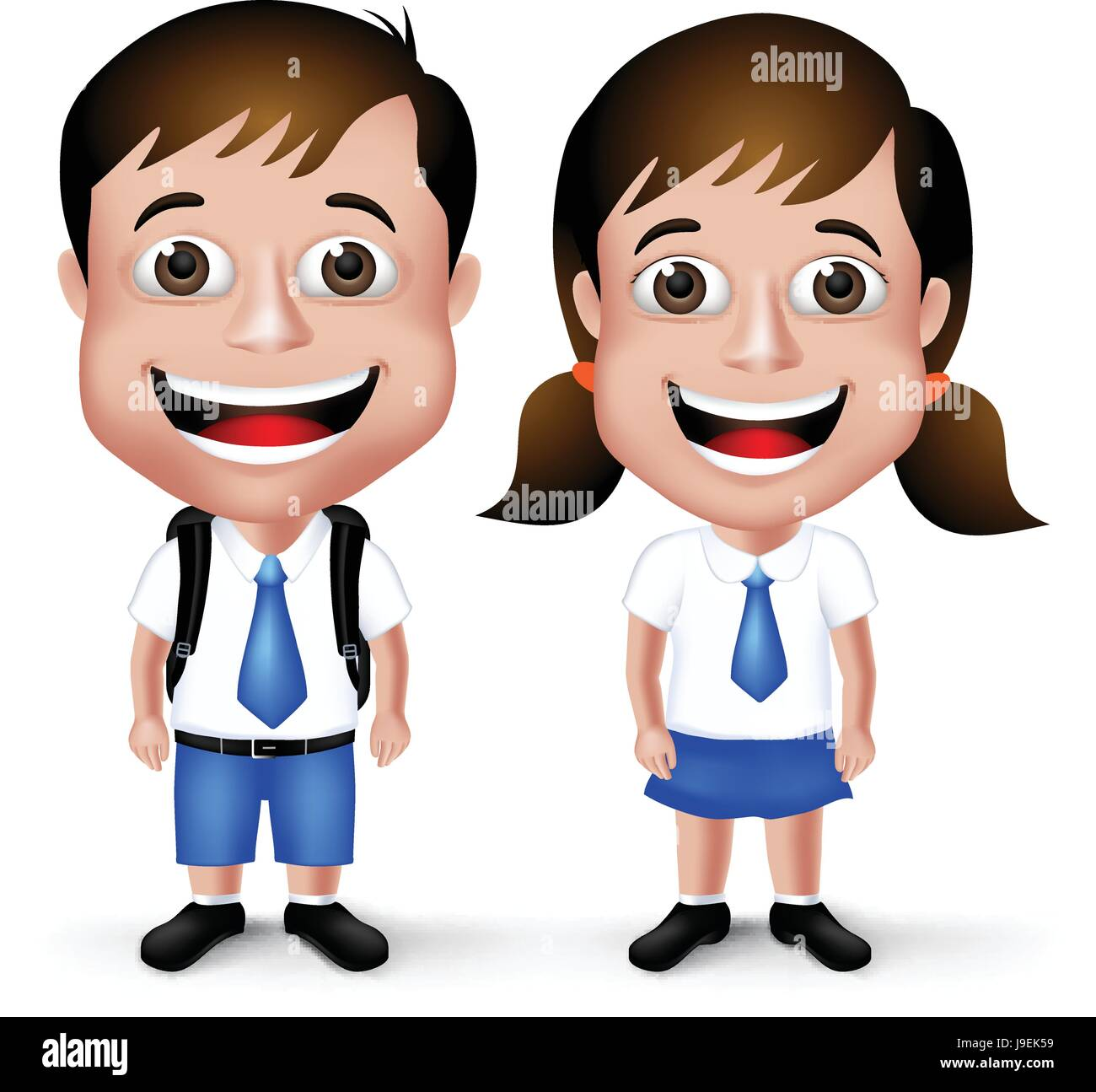 Cute School Boy and Girl Student Characters in School Uniform with Backpack  and Happy Smile Isolated in White Background. Vector Illustration 88460410ae9d4