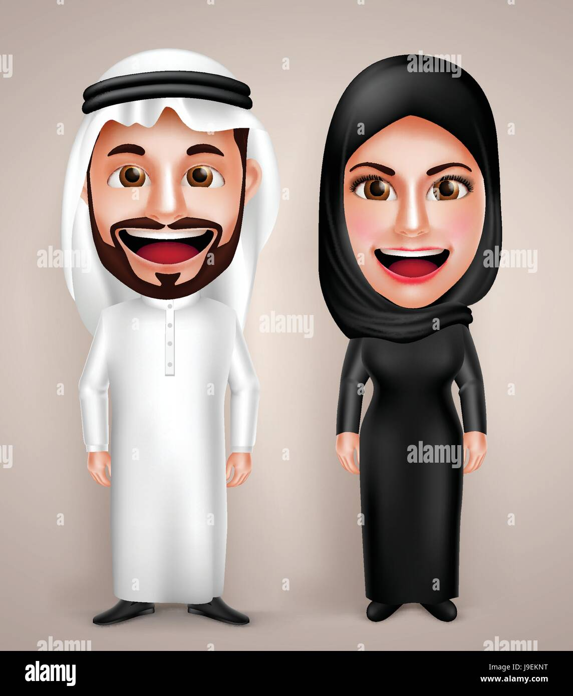 Muslim Arab man and woman vector character wearing Arabic traditional abaya and thawb dress with friendly smile. Stock Vector