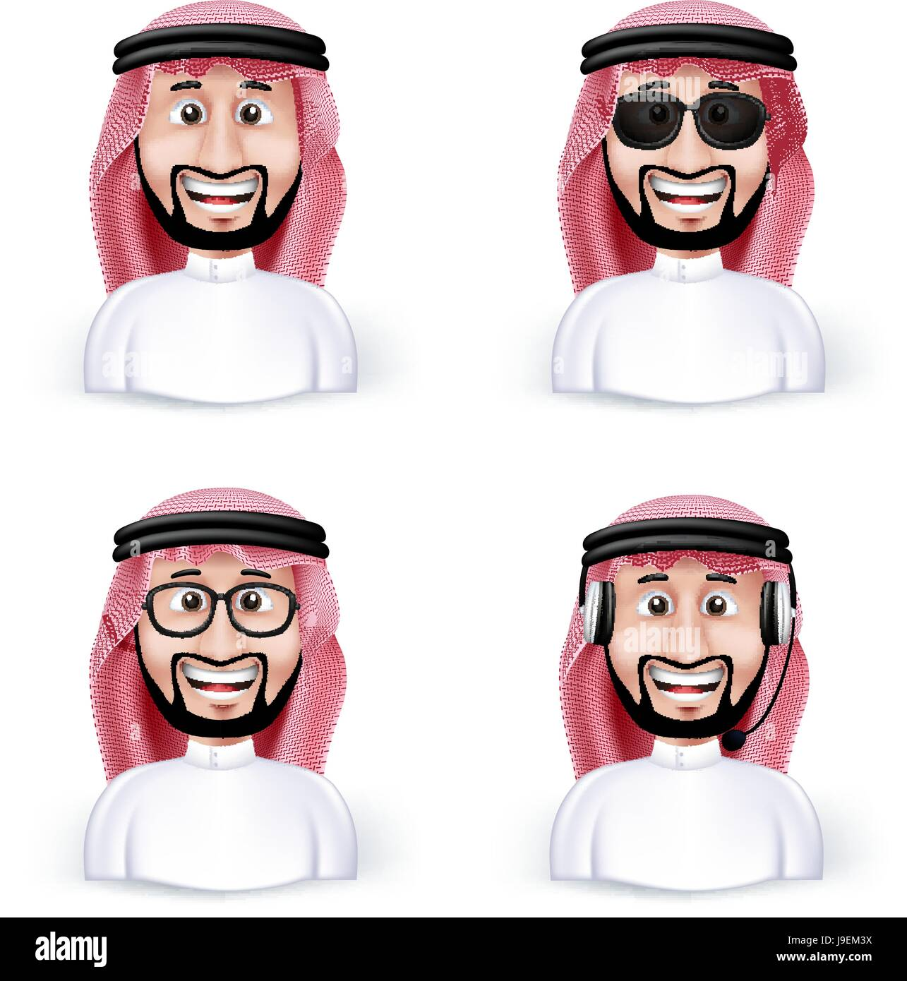 Set of Saudi Arab Man in Different Professional and Business Man Characters and Avatars in traditional Cloths or - Stock Image