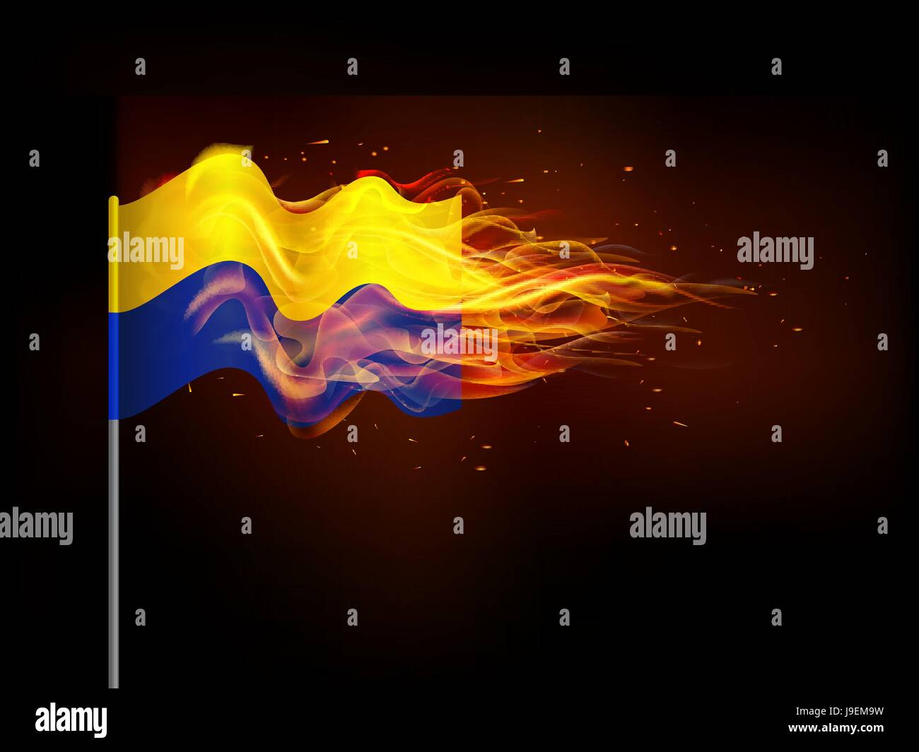 Ukrainian flag in flames. Illustrates the problem of armed conflict in Ukraine. - Stock Image