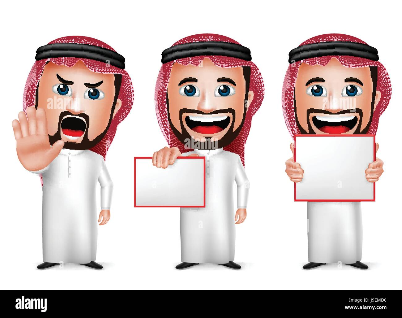 Vector Saudi Arab Man Cartoon Character Holding Blank White Board Wearing Thobe Isolated in White Background. Set - Stock Image