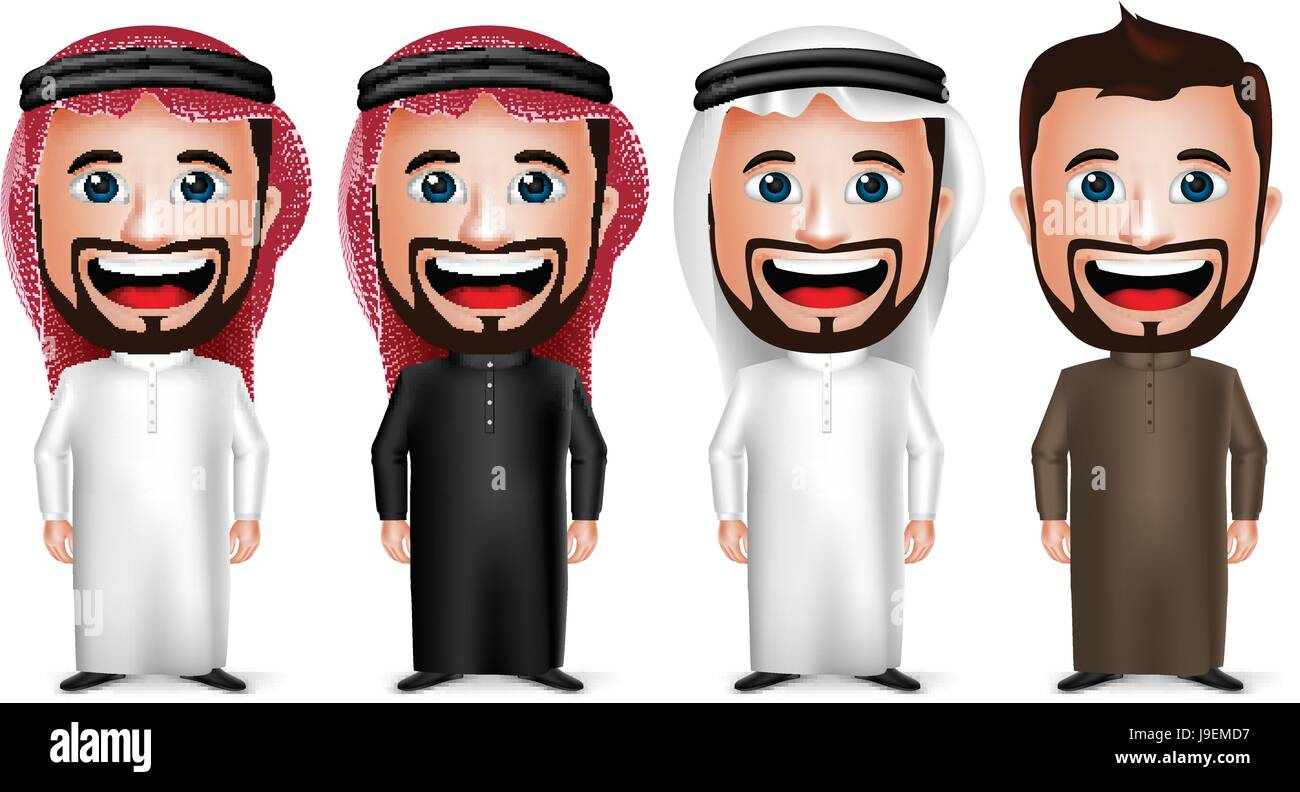 Vector Saudi Arab Man Cartoon Character Wearing Different Traditional Thobe Dress and Gutra Isolated in White Background. - Stock Image
