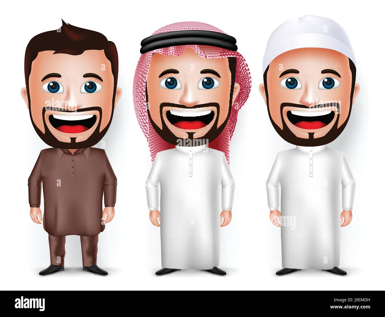 Vector Set of Cartoon Character Dress for Saudi Arabian and Pakistani Isolated in White. Vector Illustration. - Stock Image