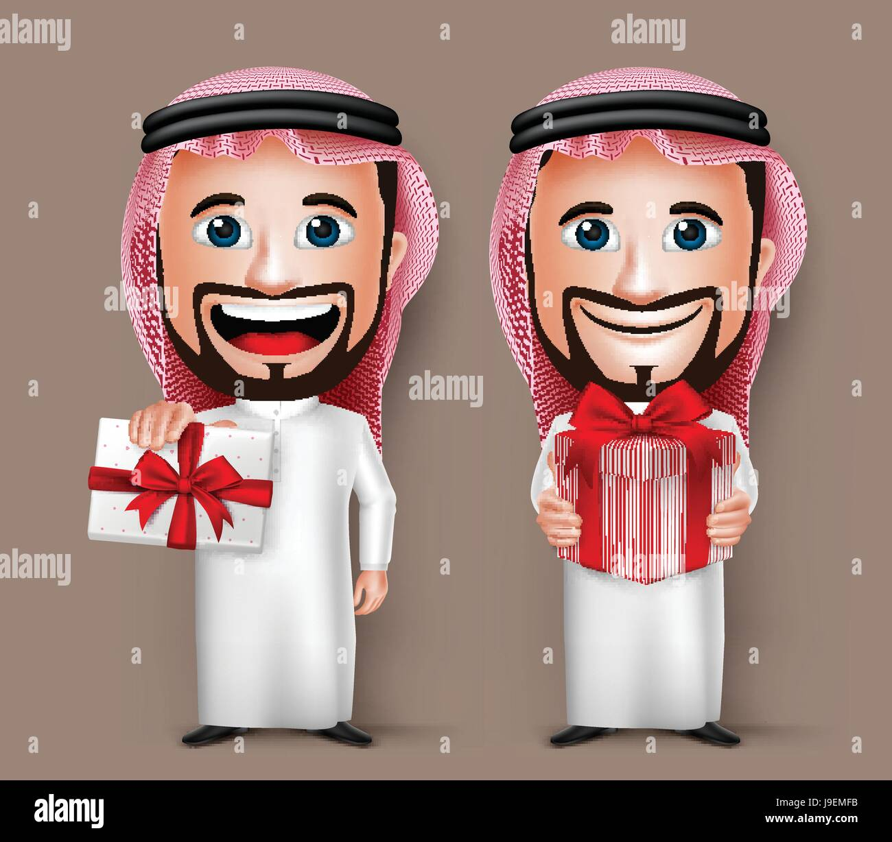 Vector Saudi Arab Man Cartoon Character Holding and Giving a Red Beautiful Gift Wearing Thobe. Set of Vector Illustration. - Stock Image