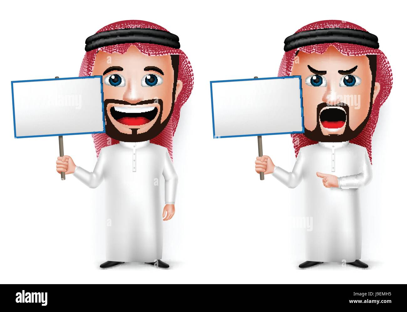 Vector Saudi Arab Man Cartoon Character Holding Blank Placard Wearing Thobe Isolated in White Background. Vector - Stock Image