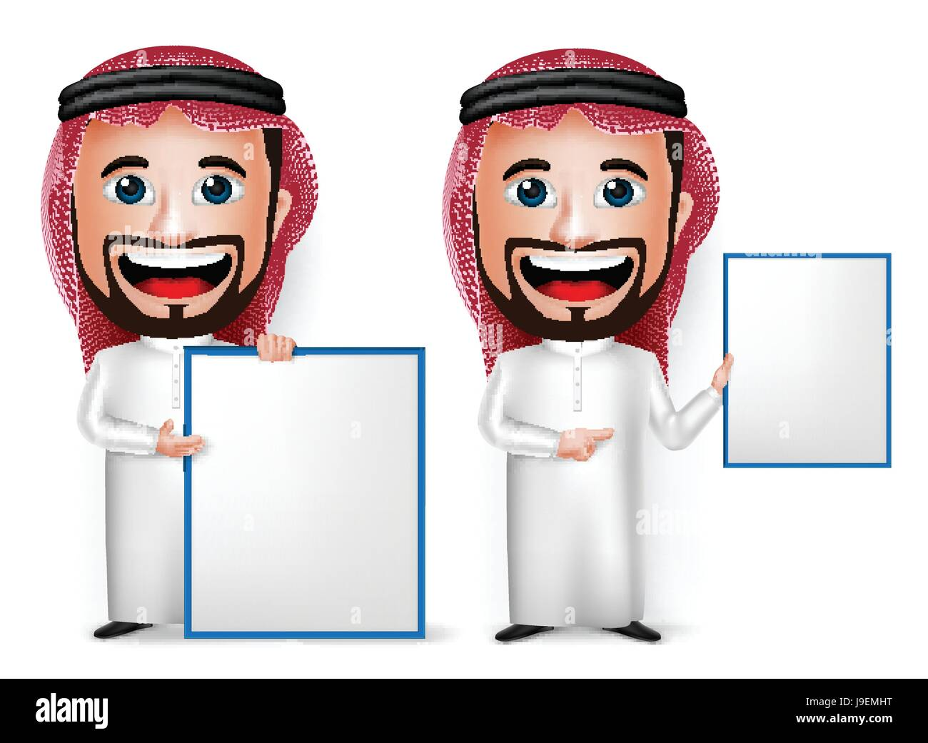 Vector Saudi Arab Man Cartoon Character Showing Blank White Board Wearing Thobe Isolated in White Background. Set - Stock Image
