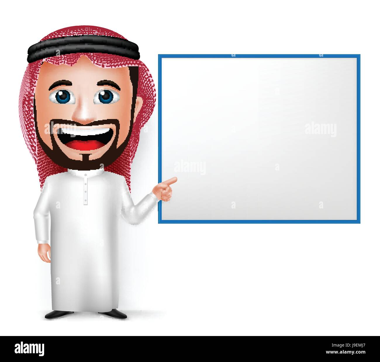Vector Saudi Arab Man Cartoon Character Showing Blank White Board Wearing Thobe Isolated in White Background. Vector - Stock Image