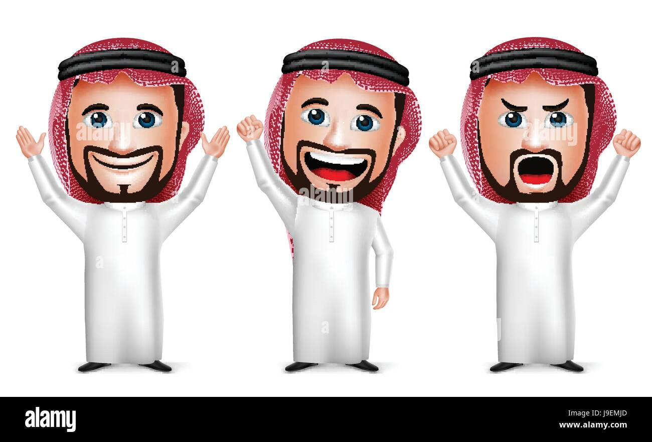 Vector Saudi Arab Man Cartoon Character Raising Hands Up Gesture Wearing Thobe Isolated in White Background. Set - Stock Image