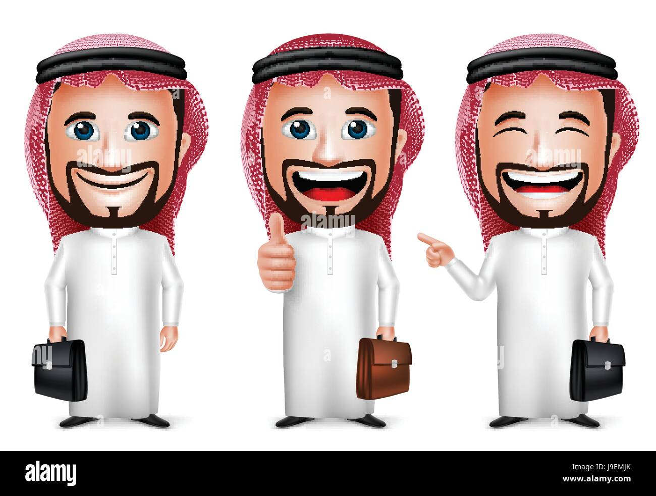 Vector Saudi Arab Man Cartoon Character with Different Pose Holding Briefcase Wearing Thobe Isolated in White Background. - Stock Image