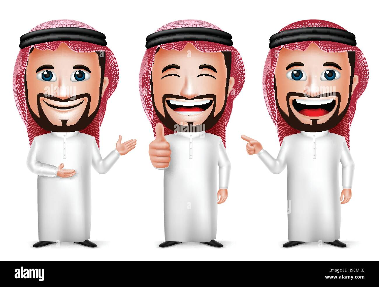 Vector Saudi Arab Man Cartoon Character with Different Pose and Hand Gesture Wearing Thobe Isolated in White Background. - Stock Image