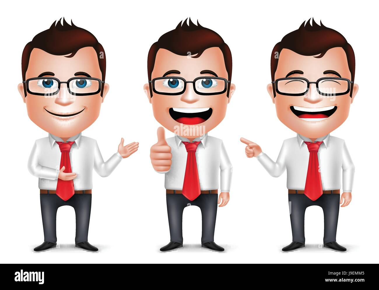 Businessman Cartoon Character With Different Pose And Hand Gesture