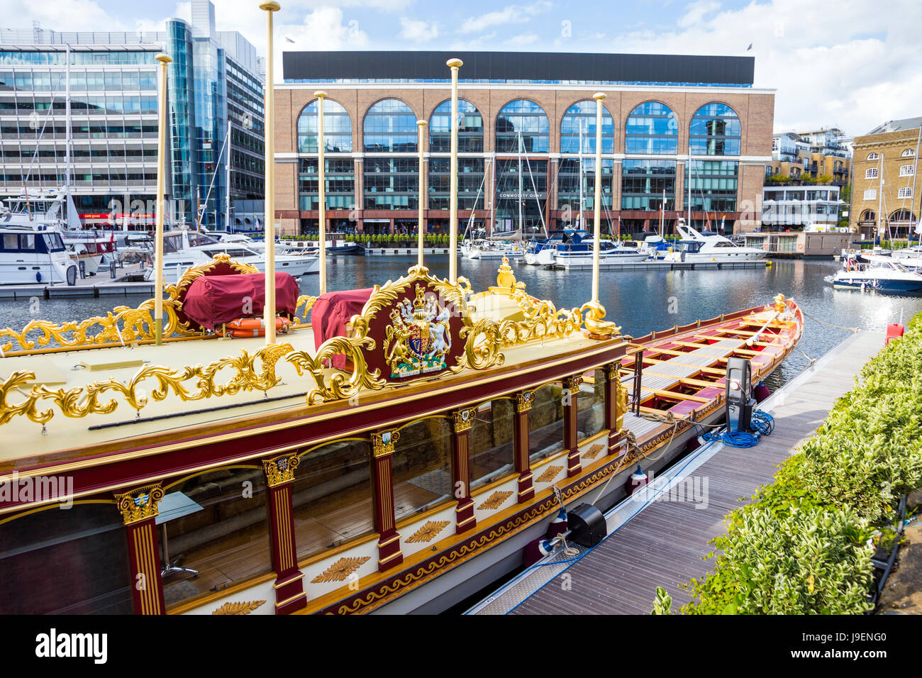 Gloriana Barge in St Katharine's Docks - royal barge commissioned as tribute to Queen Elizabeth II for her Diamond - Stock Image