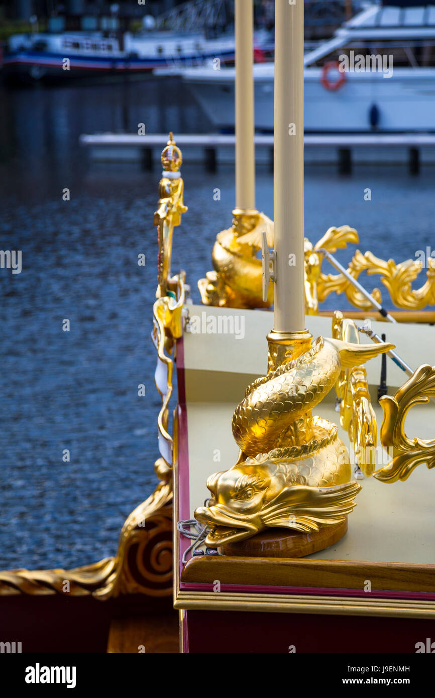 Detail of the Gloriana Barge in St Katharine's Docks - royal barge commissioned as tribute to Queen Elizabeth - Stock Image