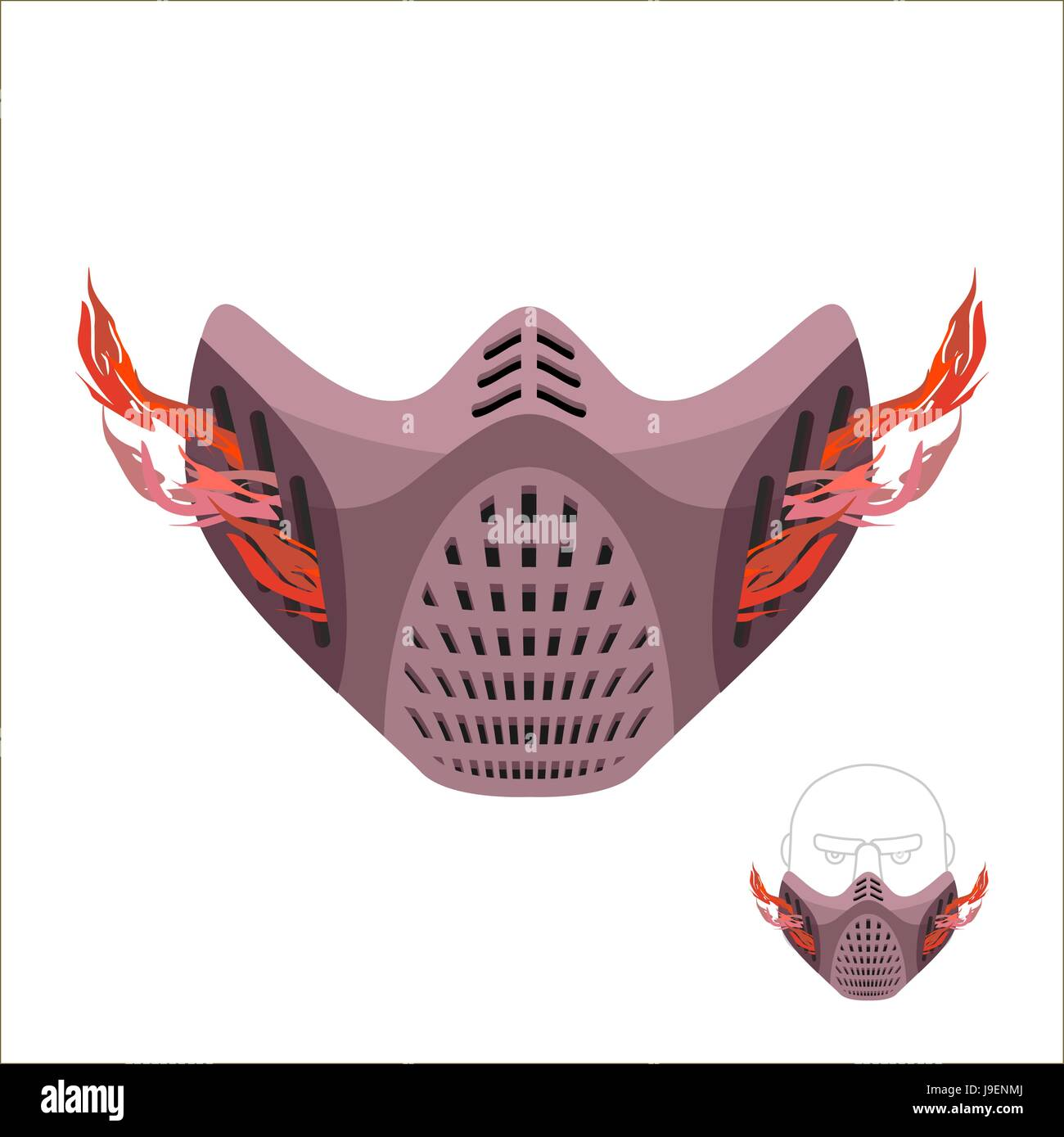 Protective sports mask. Scary Monster mask or maniac with fire. Vector illustration - Stock Image
