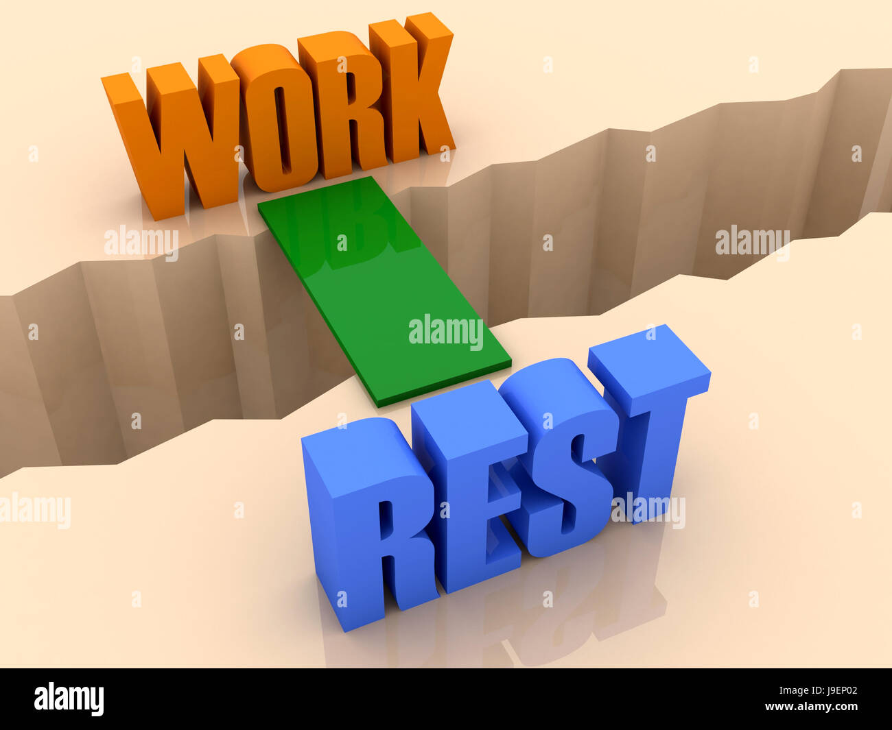 Two words WORK and RESTunited by bridge through separation crack. Concept 3D illustration. - Stock Image