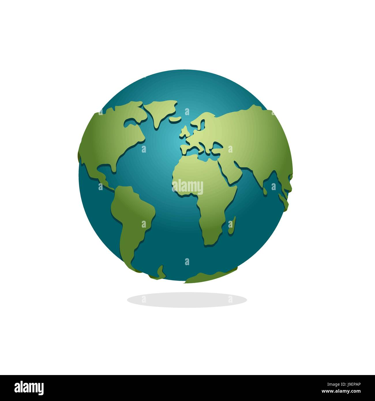 Charming Earth Planet. Sign Of Globe. Space Earth On White Background. World Globe  Map. Continents And Oceans.