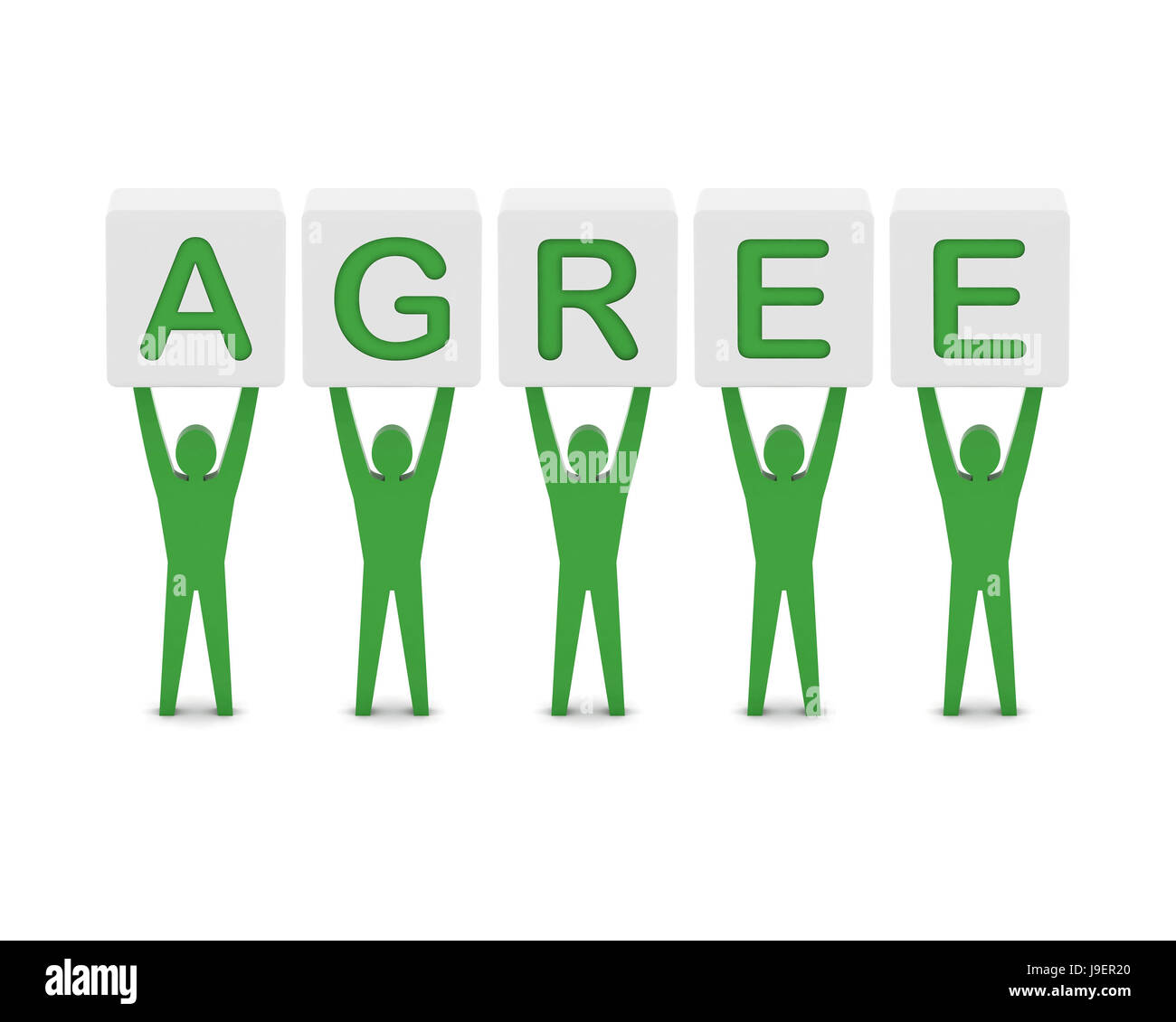 Men holding the word agree. Concept 3D illustration. Stock Photo