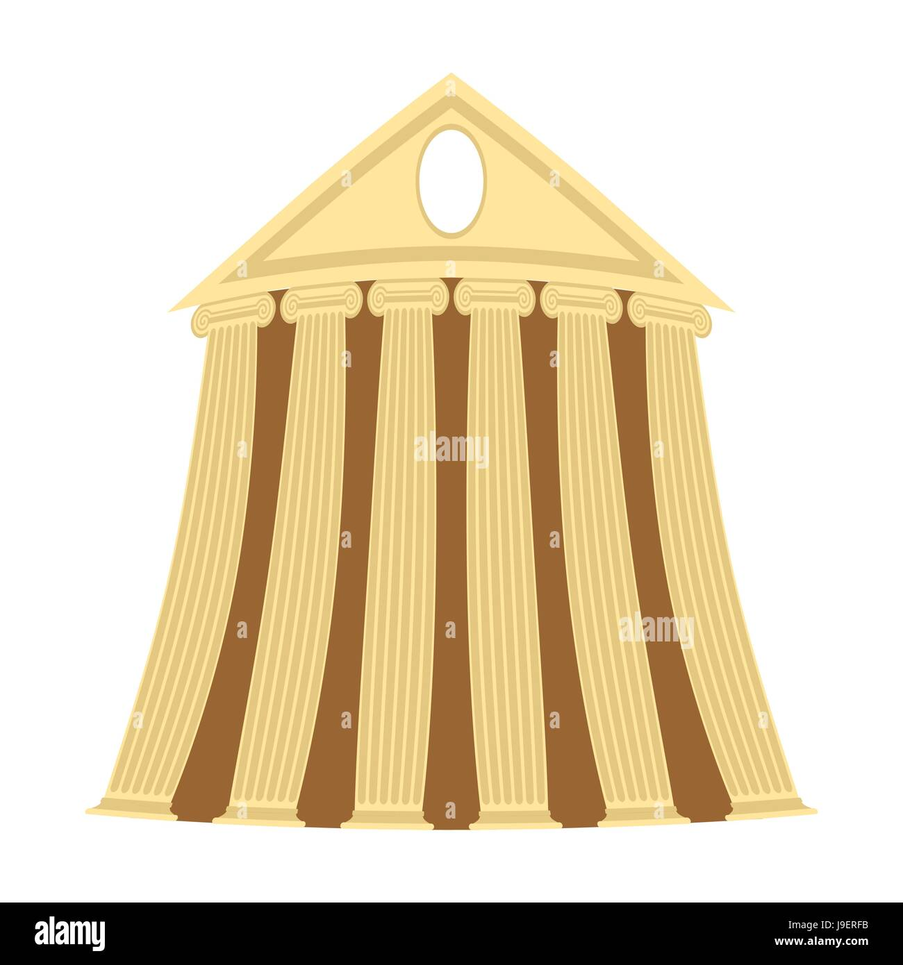 Greek temple of cartoon style on a white background. Vector illustration. - Stock Vector