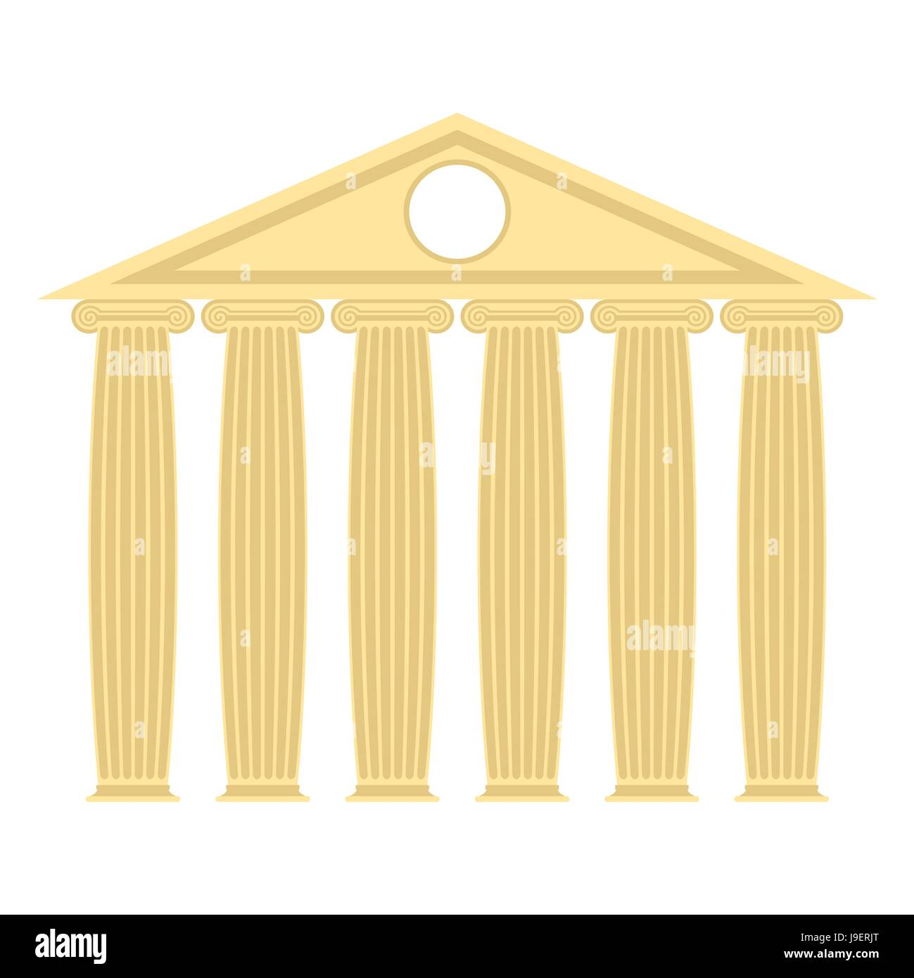 Greek temple with columns and roof. Vector illustration of ancient architecture. - Stock Vector