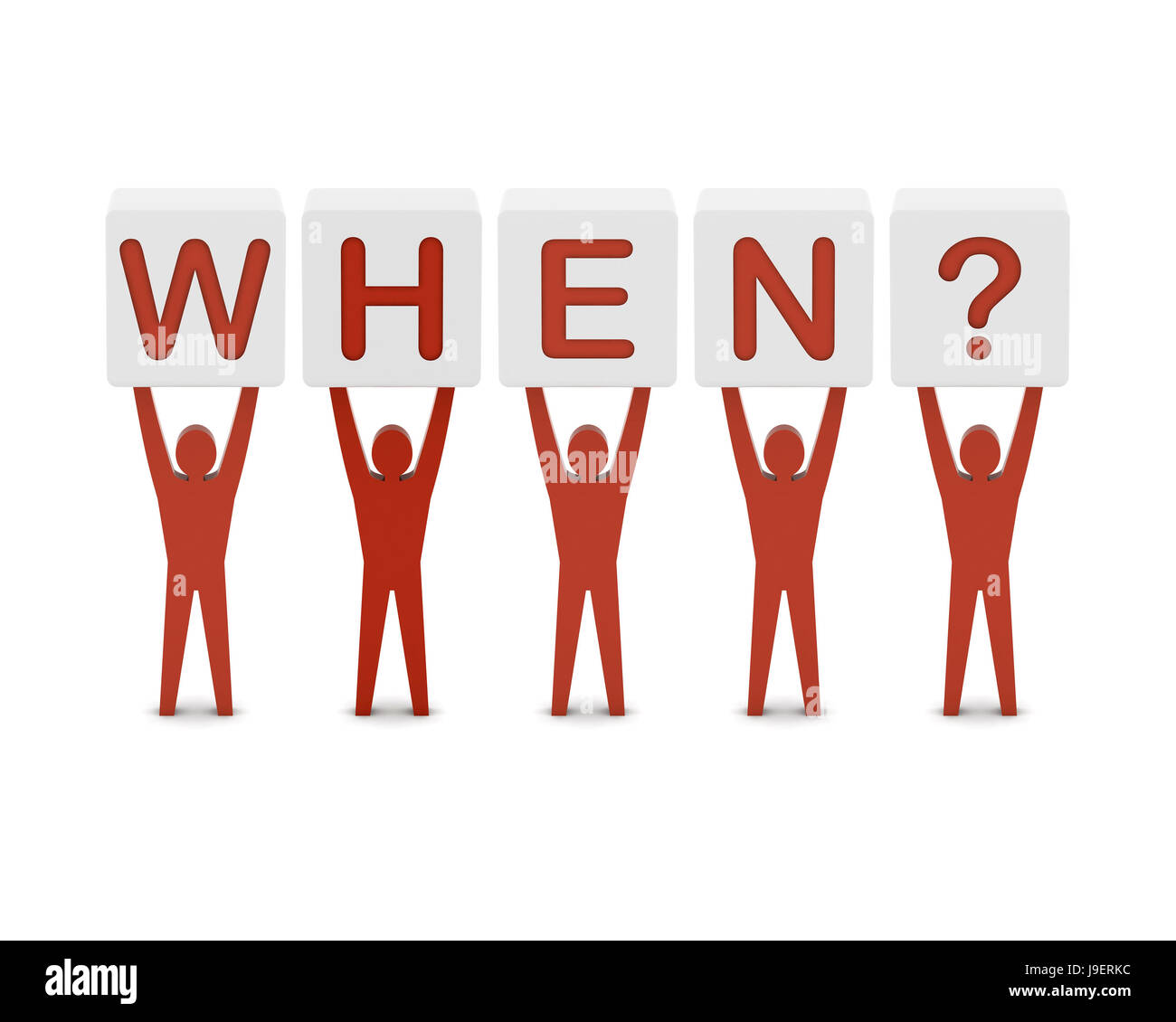 Men holding the question when. Concept 3D illustration. - Stock Image