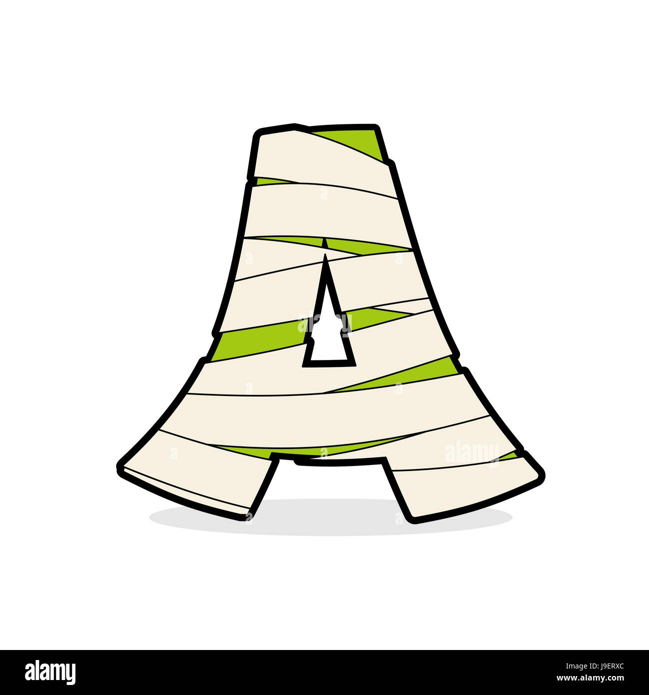 Letter A Mummy. Typography icon in bandages. Egyptian zombie ...