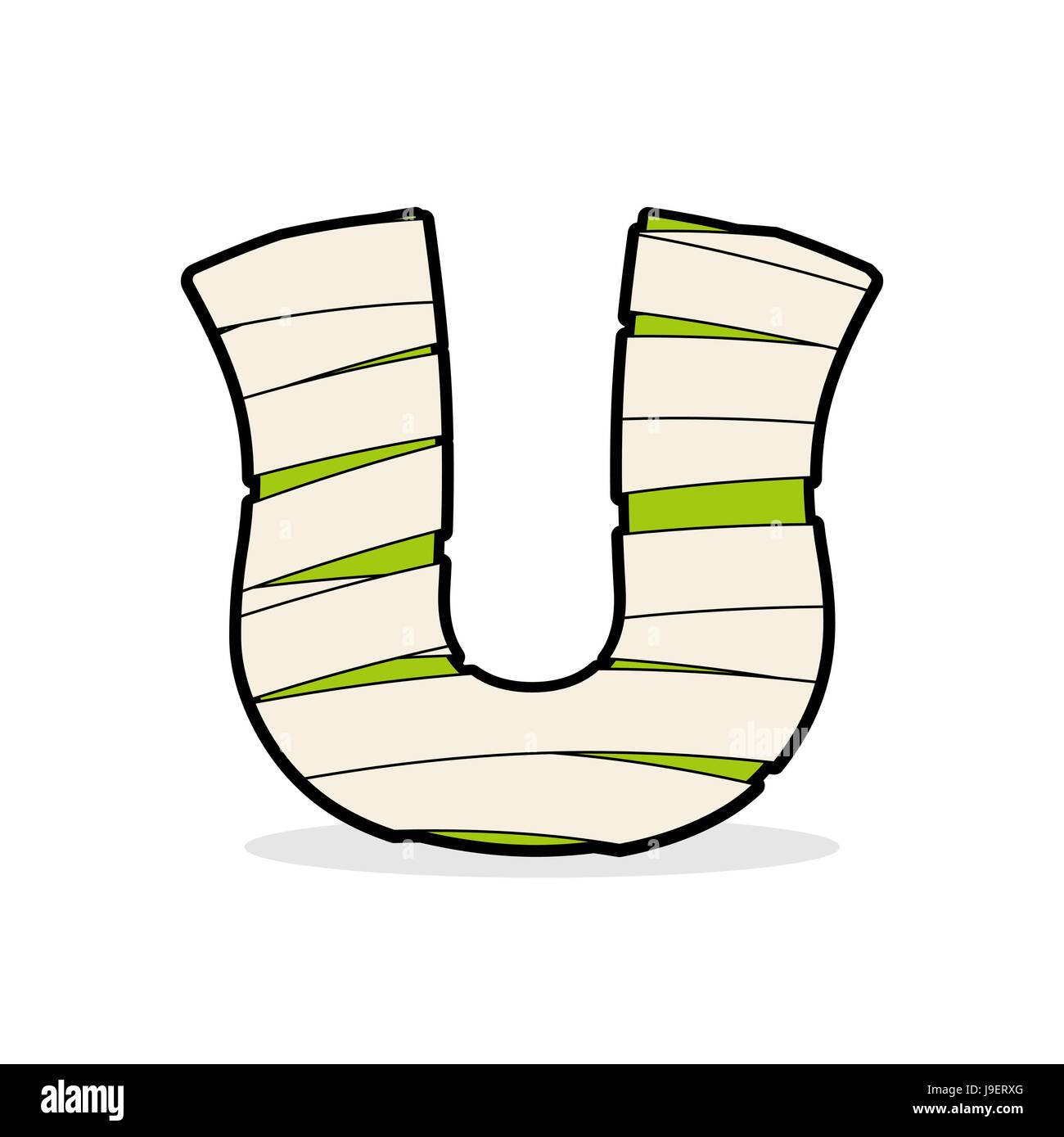Letter U Monster zombie. Alphabetical icon medical bandages ...