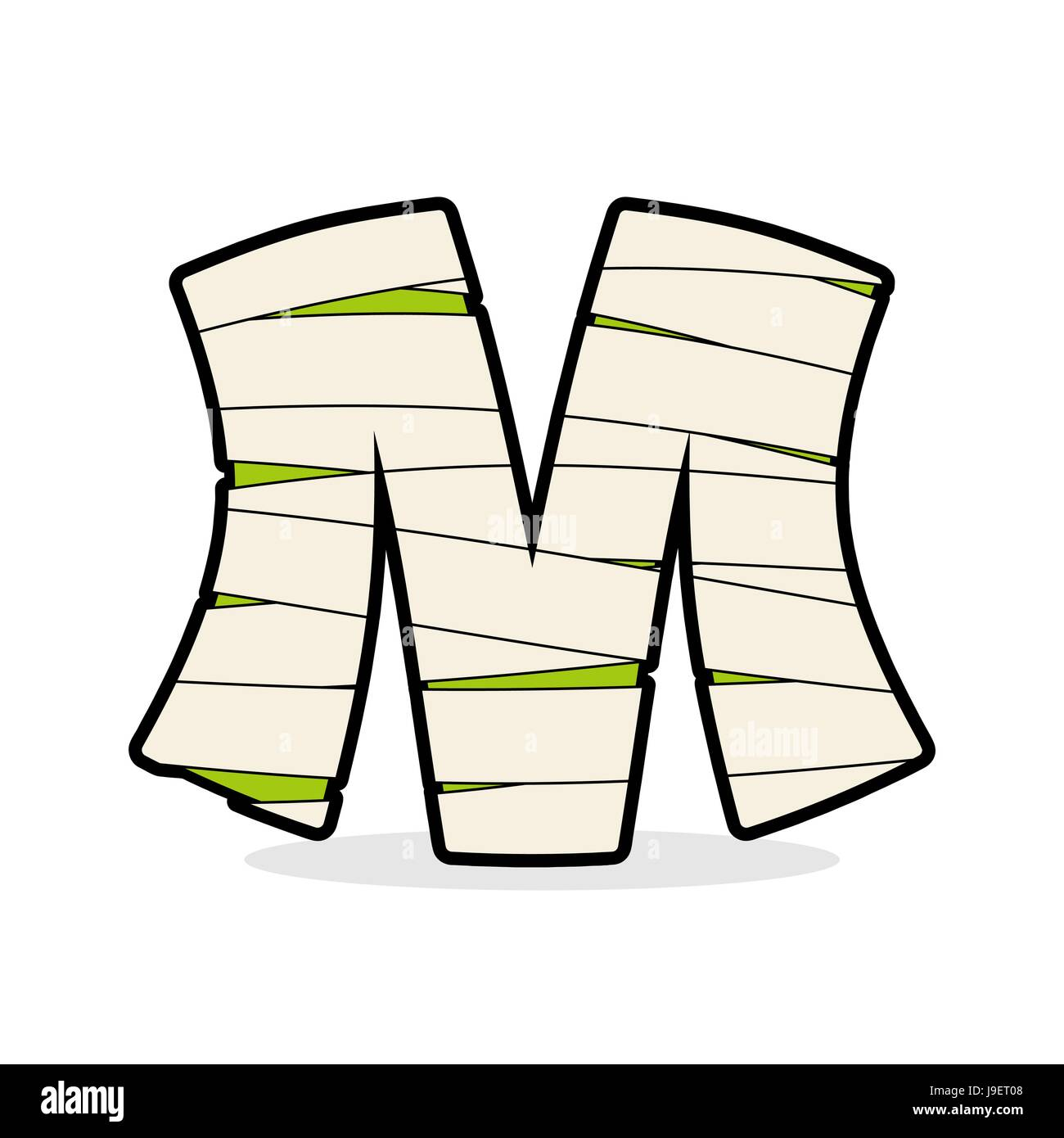 Letter M Mummy Typography Icon In Bandages Horrible Egyptian Stock