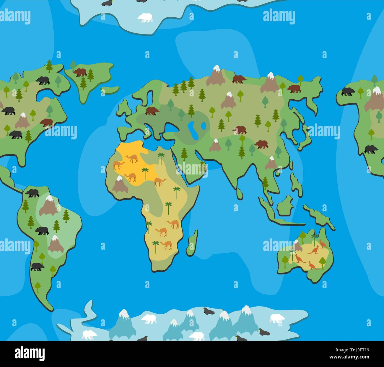 World map with animals and trees seamless pattern background of world map with animals and trees seamless pattern background of geographical atlas of flora and fauna endless ornament for baby cloth of contin gumiabroncs