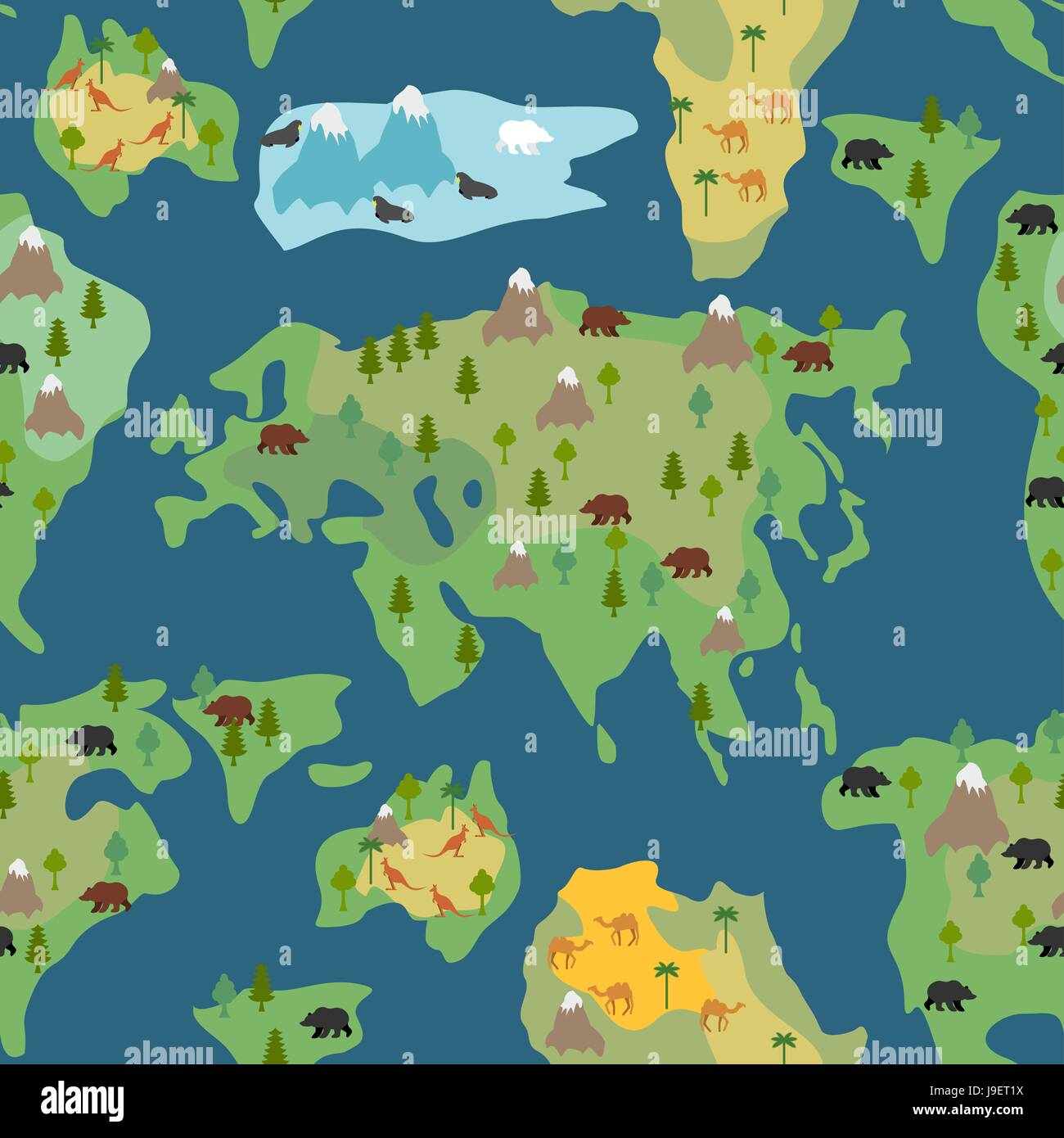 Continents seamless pattern world map is endless ornament stock continents seamless pattern world map is endless ornament geographical atlas with flora and fauna background detailed map with animals and trees gumiabroncs Image collections
