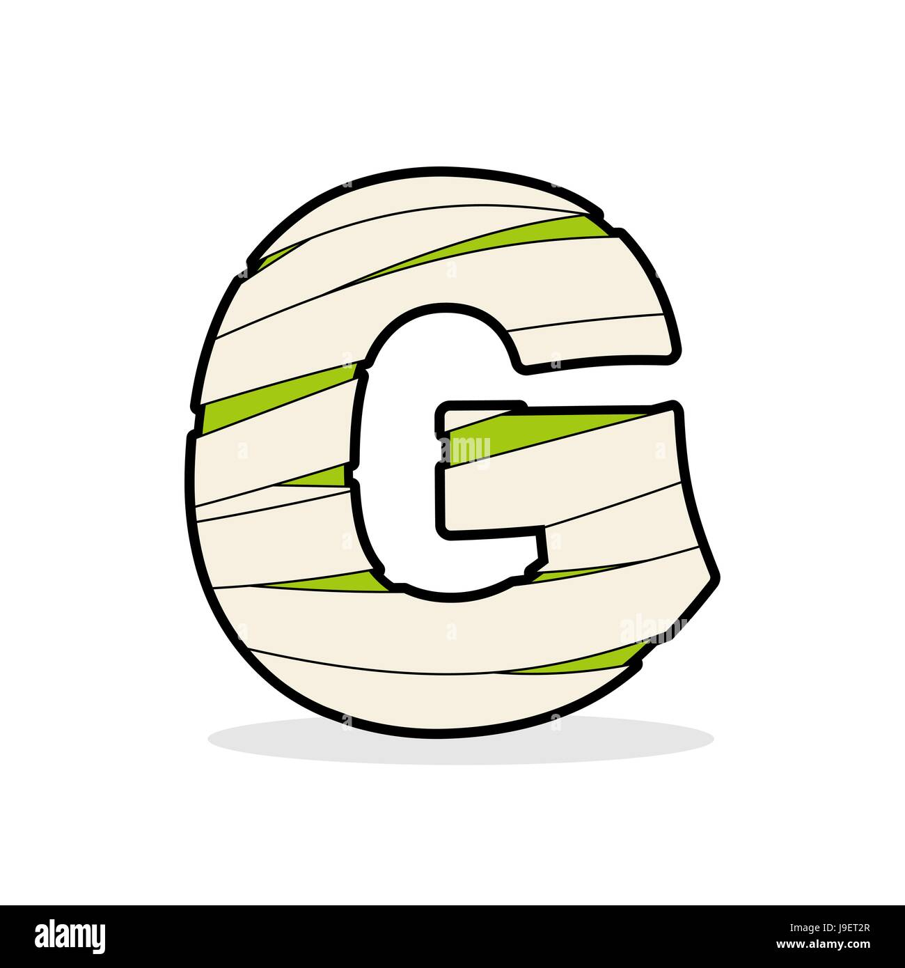 letter g mummy typography icon in bandages egyptian zombie