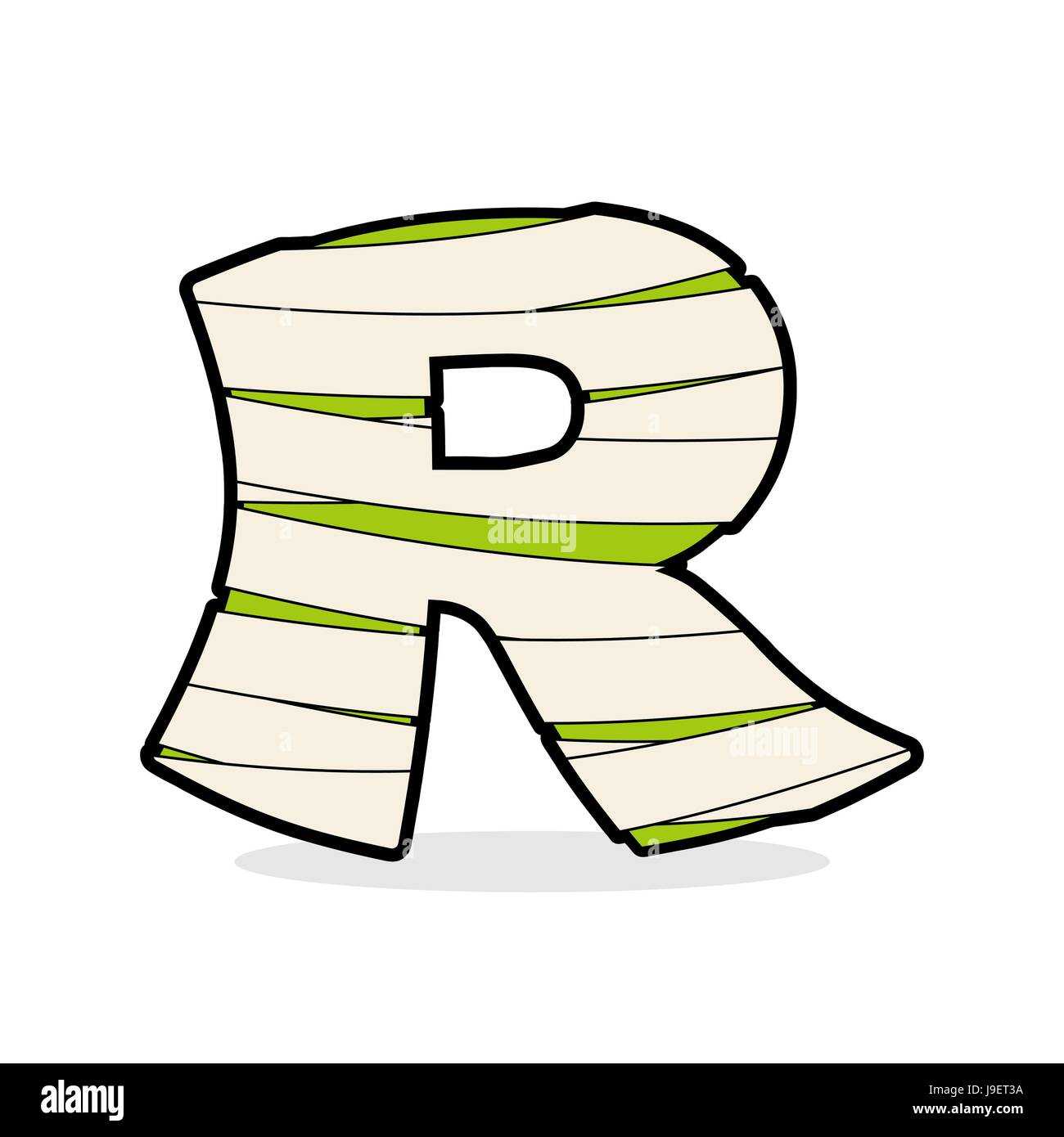 Letter R Monster Zombie Alphabetical Icon Medical Bandages Stock