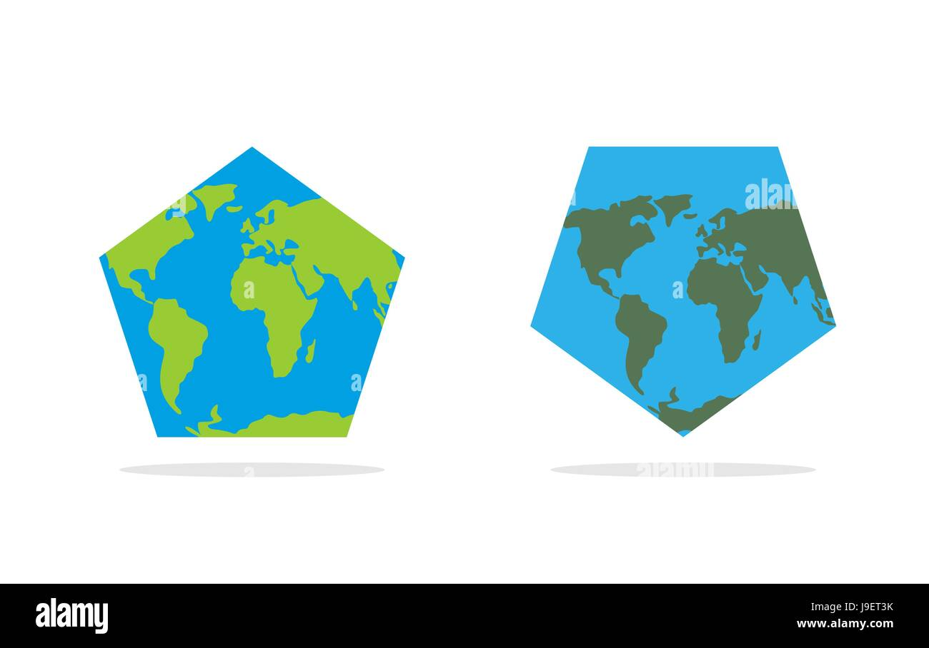Pentagonal world map. World Land and oceans on an unusual ...