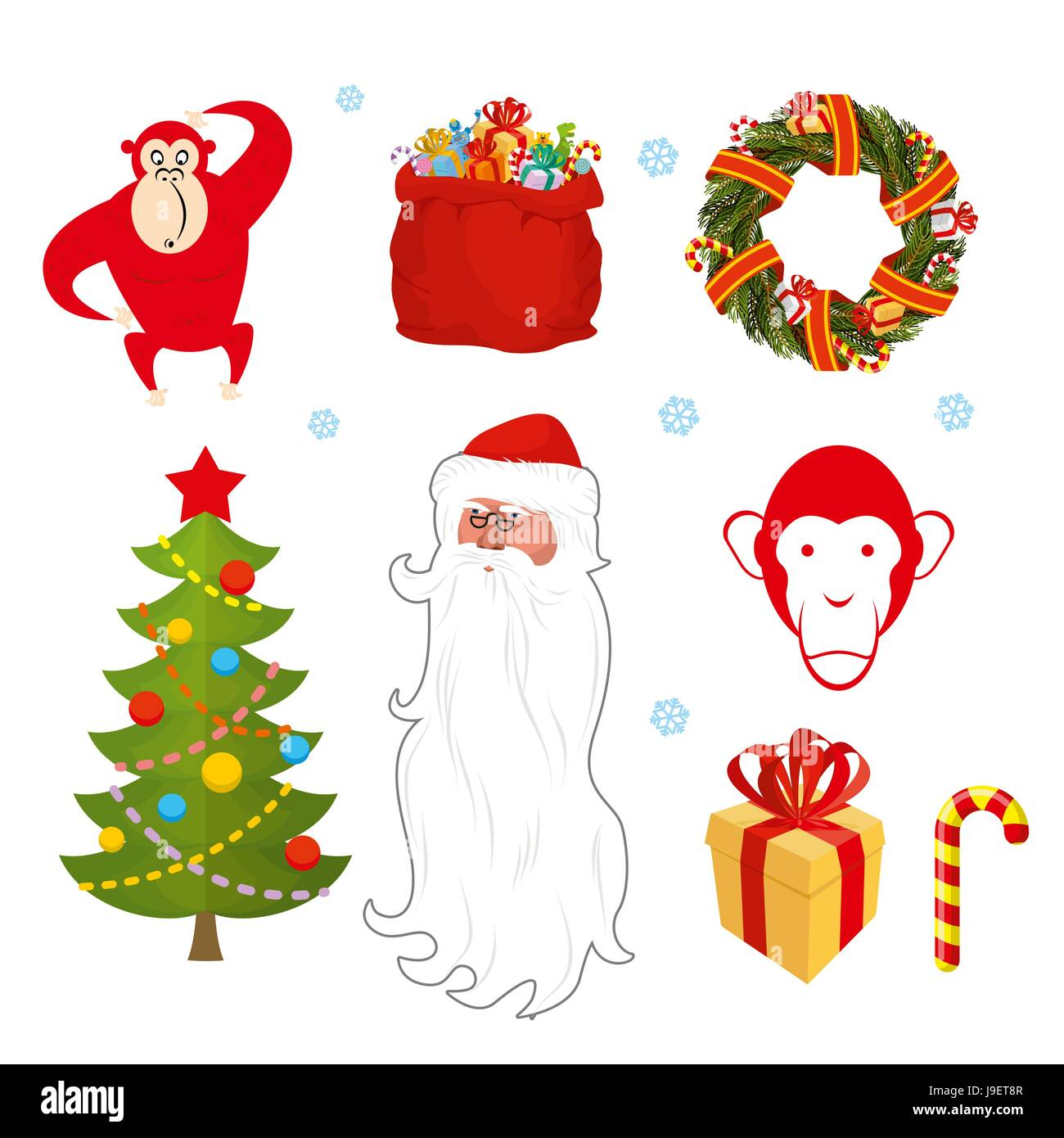 4b7e1d1c2f7 Chinese new year objects  red monkey bag Santa Claus. Wreath of pine  branches. Christmas tree decorated with festive. Gift box with red