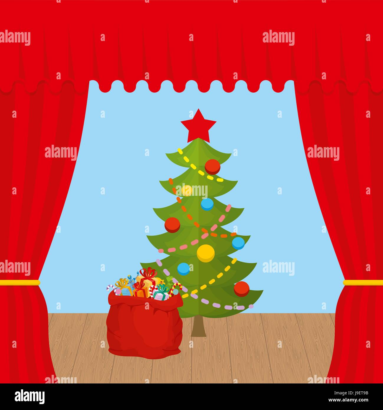 Christmas Scene and red curtain. Holiday scene. Christmas tree and  Santa Claus bag with gifts - Stock Vector