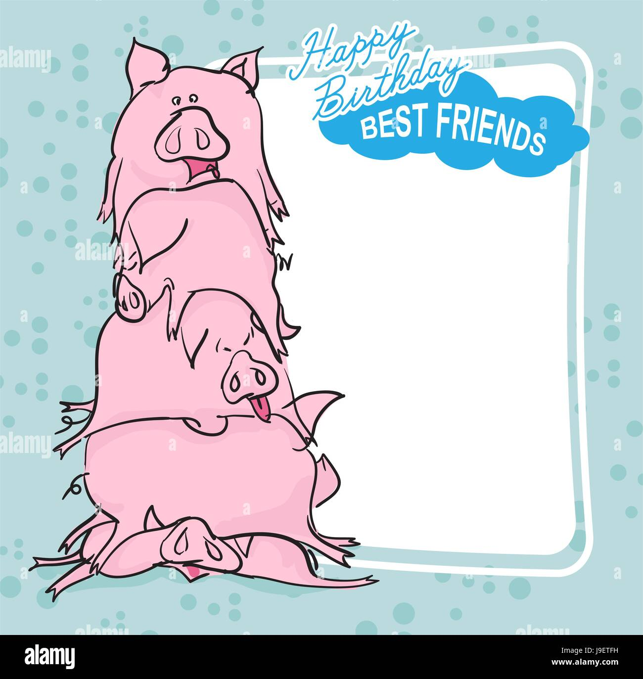 Happy Birthday Bunch Of Pigs Best Friends Forever Greeting Card