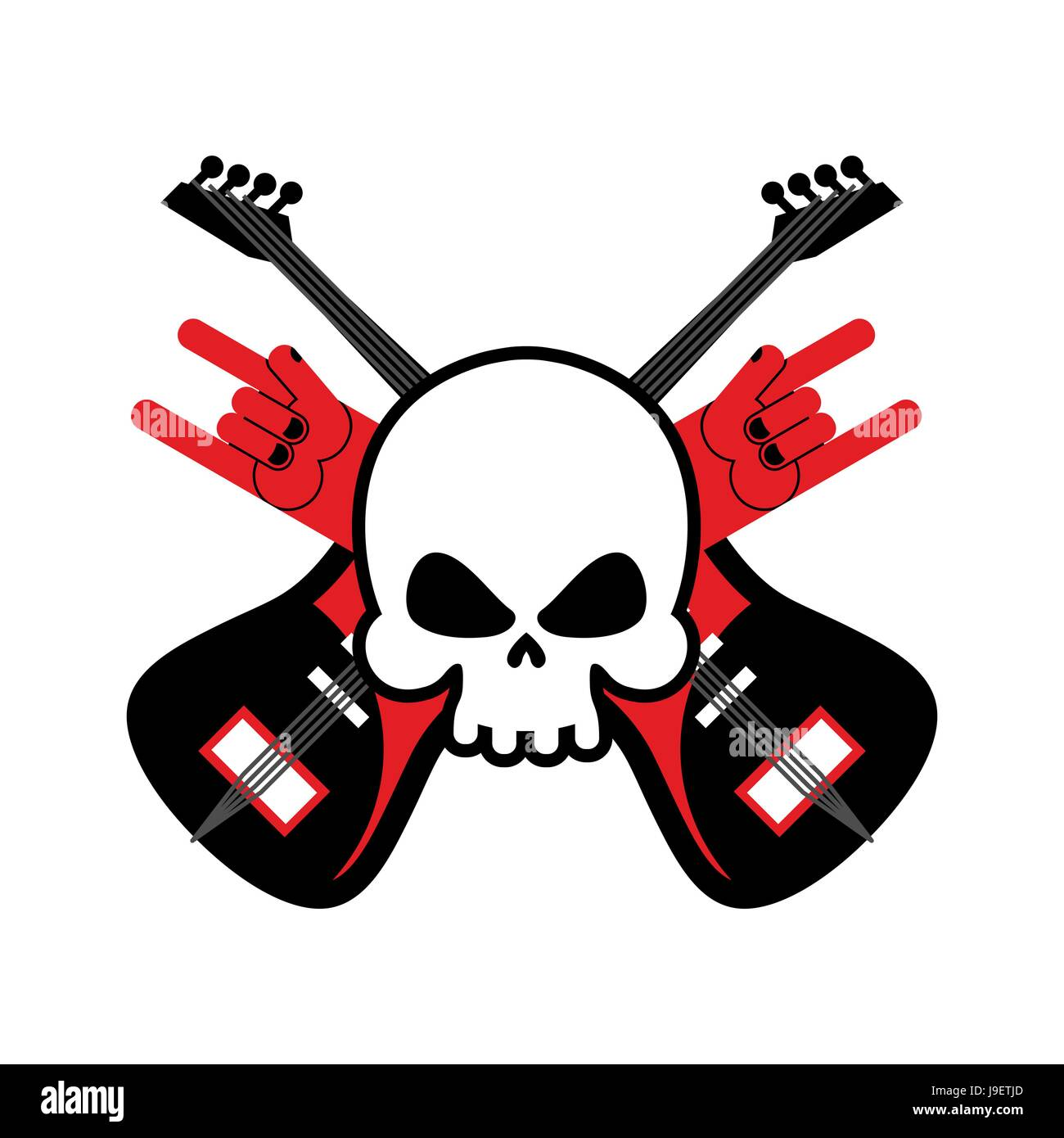 Skull with guitars and rock hand symbol logo for rock band logo skull with guitars and rock hand symbol logo for rock band logo for lovers rock music buycottarizona Images