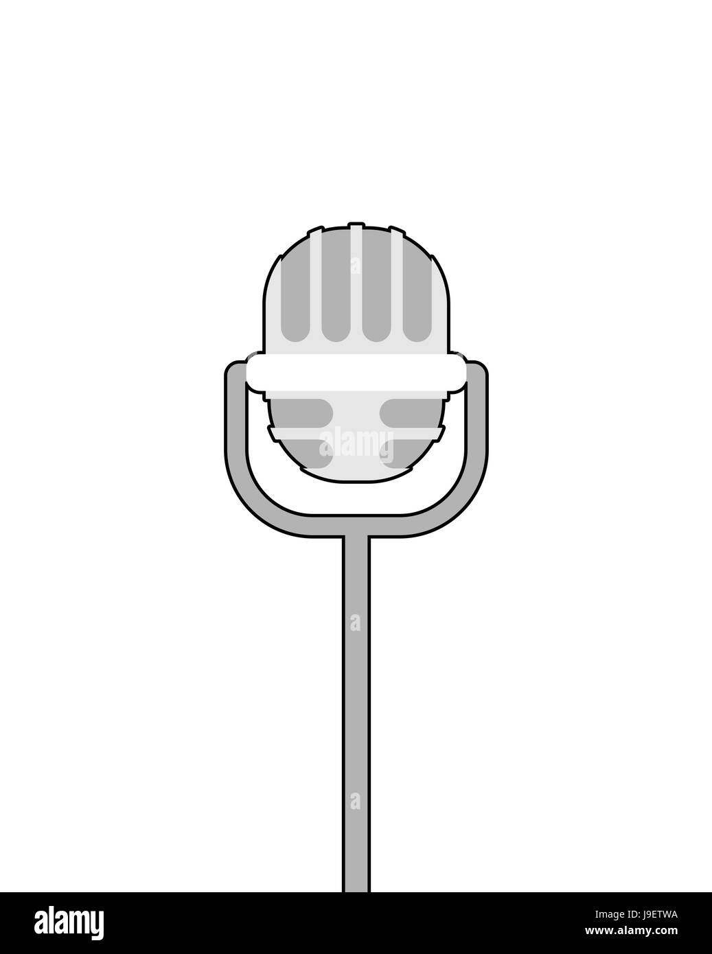 Retro microphone on white background. Accessory for lead performances. - Stock Vector