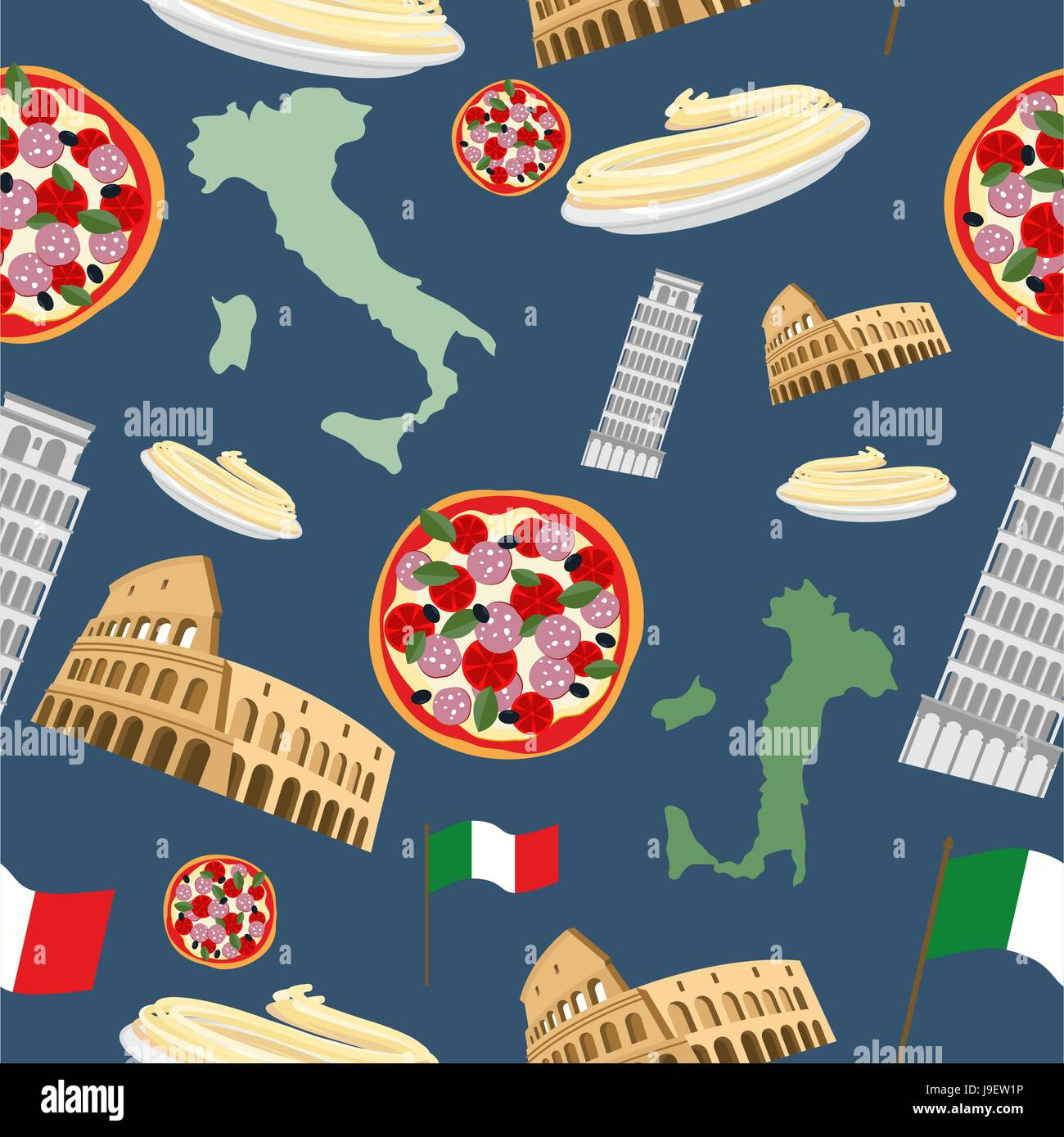 Italian Seamless Pattern Vector Background Of The Symbols Of Italy