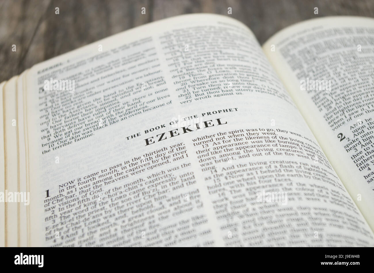 Title page for the book of Ezekiel in the Bible – King James Version - Stock Image