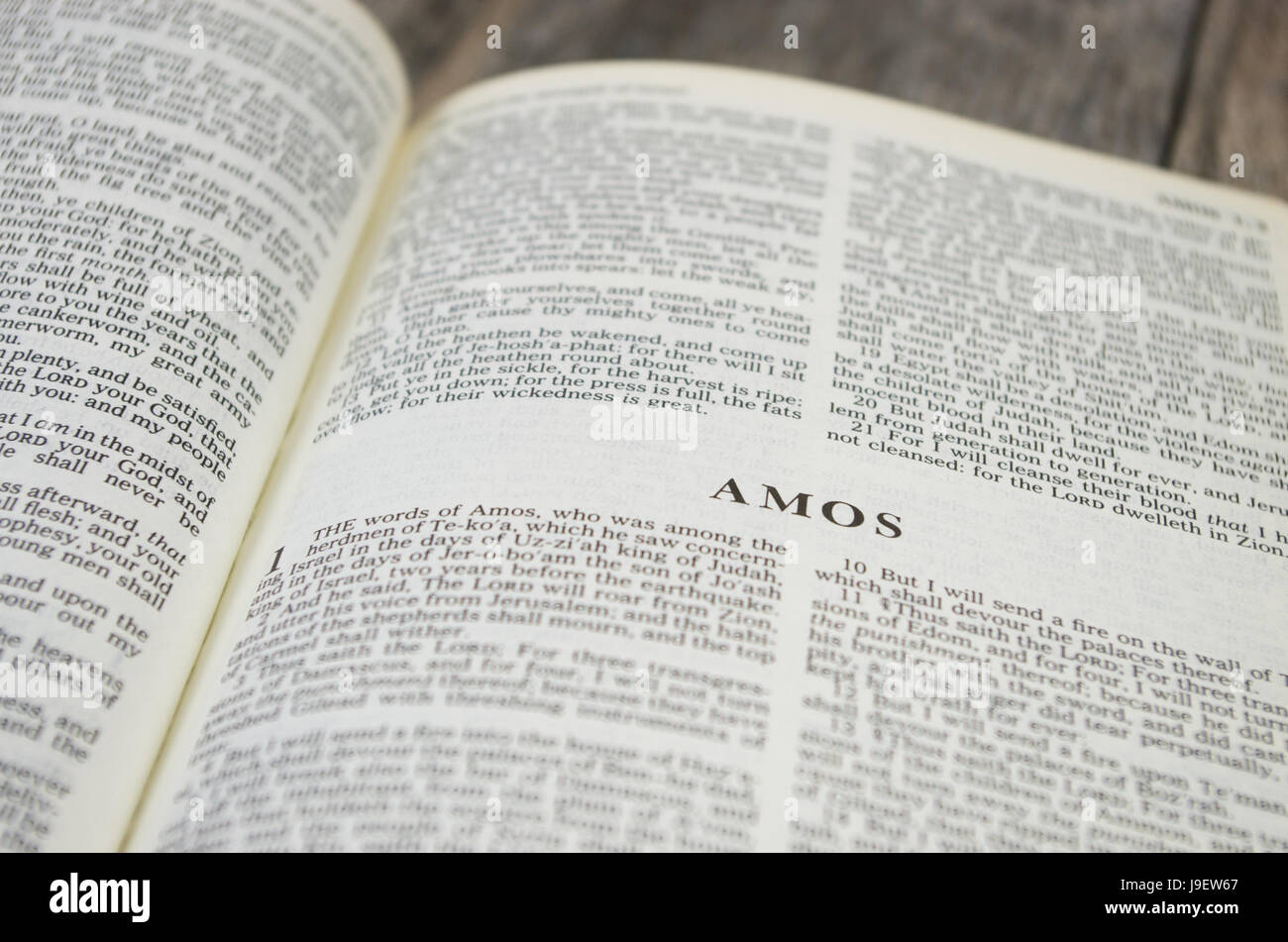 Title page for the book of Amos in the Bible – King James Version - Stock Image