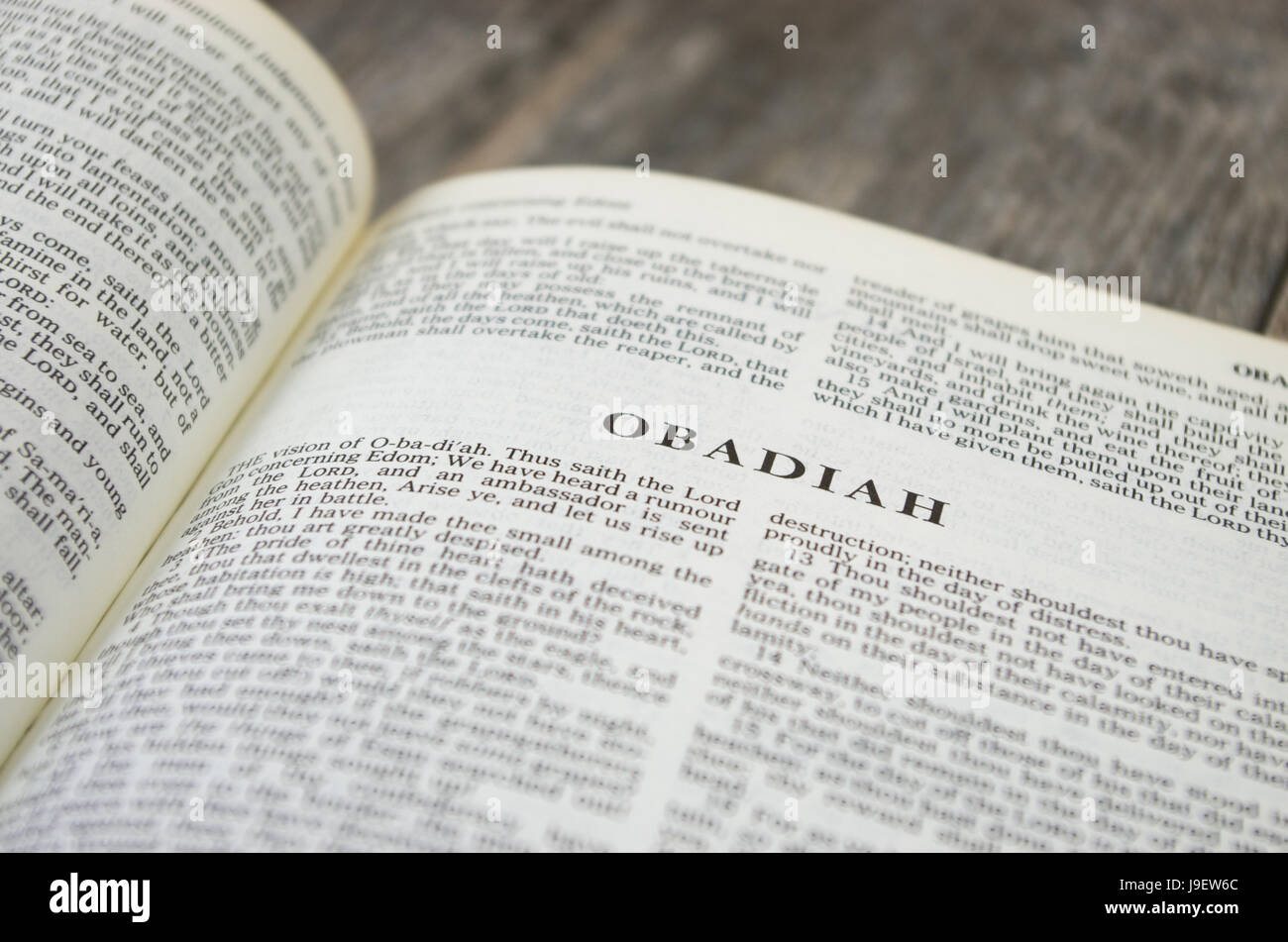 Title page for the book of Obadiah in the Bible – King James Version - Stock Image