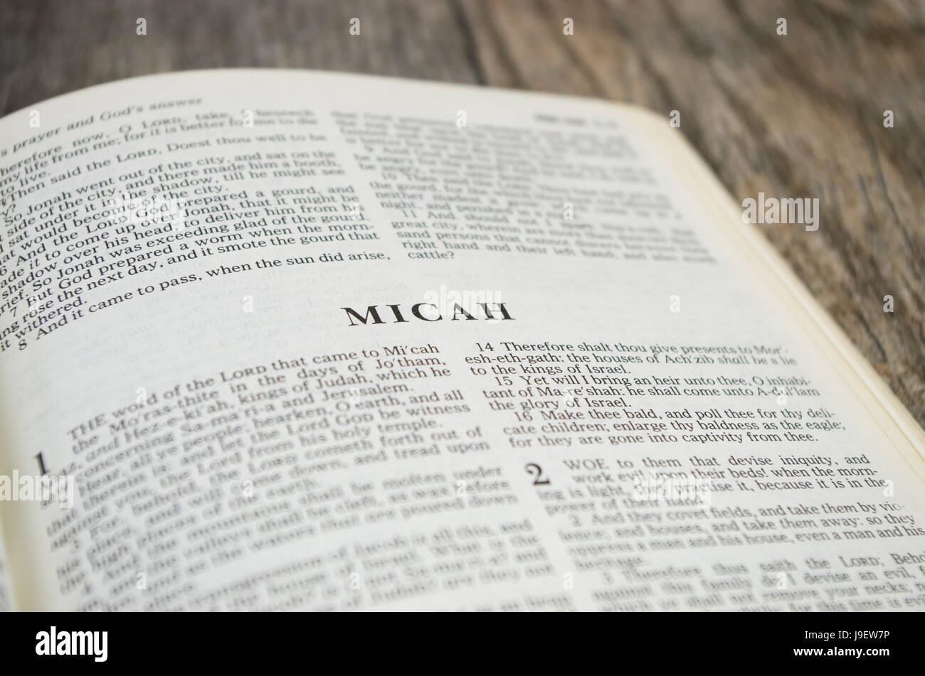 Title page for the book of Micah in the Bible – King James Version - Stock Image