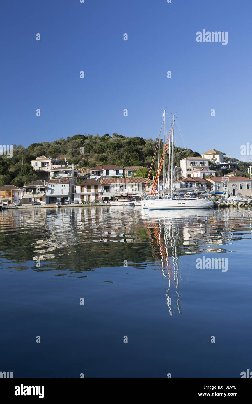 Vathy, Meganisi, Greece. Harbour, early morning. - Stock Image