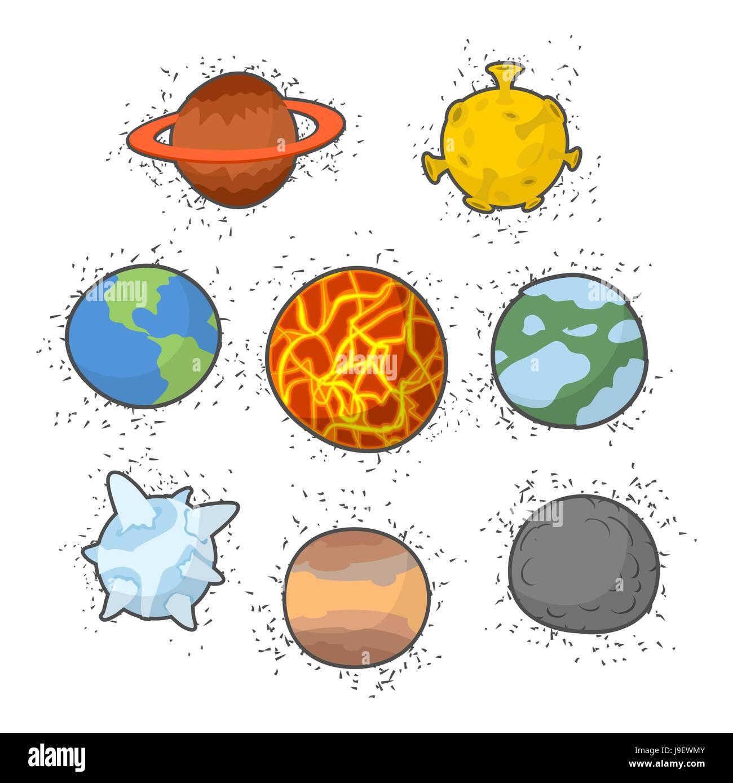 Set planets solar system. Funny cartoon planet- Star ...