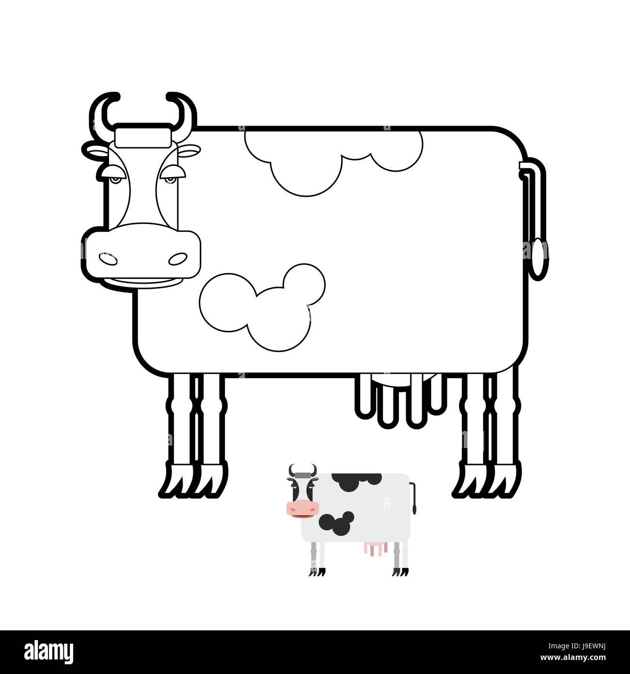 Cow coloring book. Vector illustration of farm animals Stock Vector ...