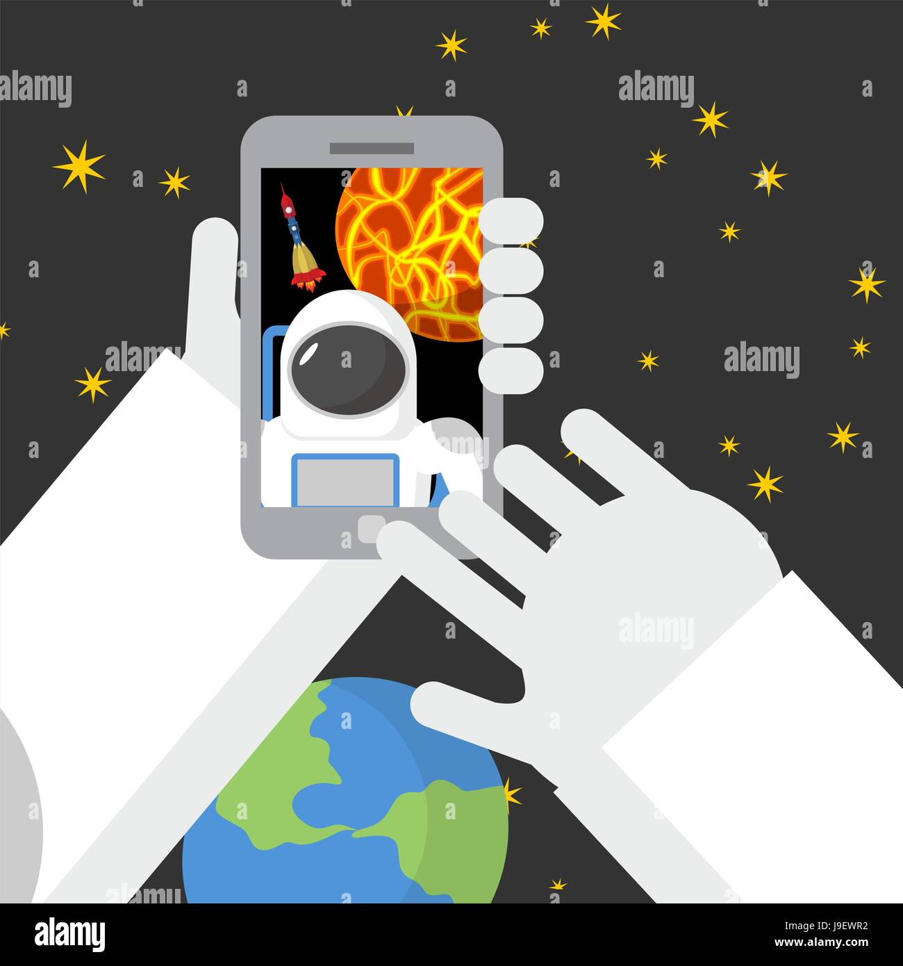 Selfie in space. Astronaut photographed myself on phone against backdrop of a rocket. Vector illustration. - Stock Vector