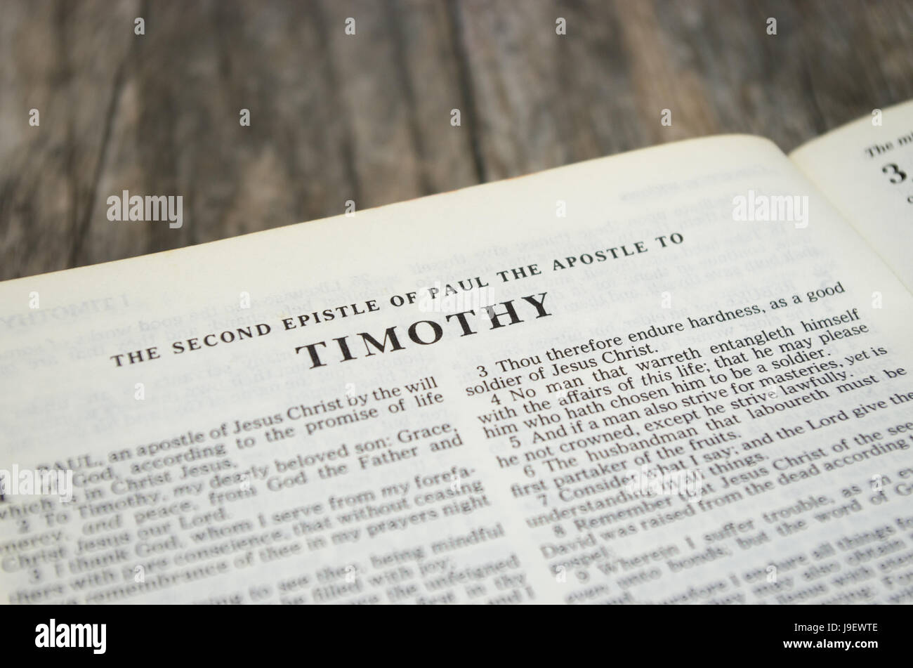 Title page for the book of Timothy in the Bible – King James Version - Stock Image